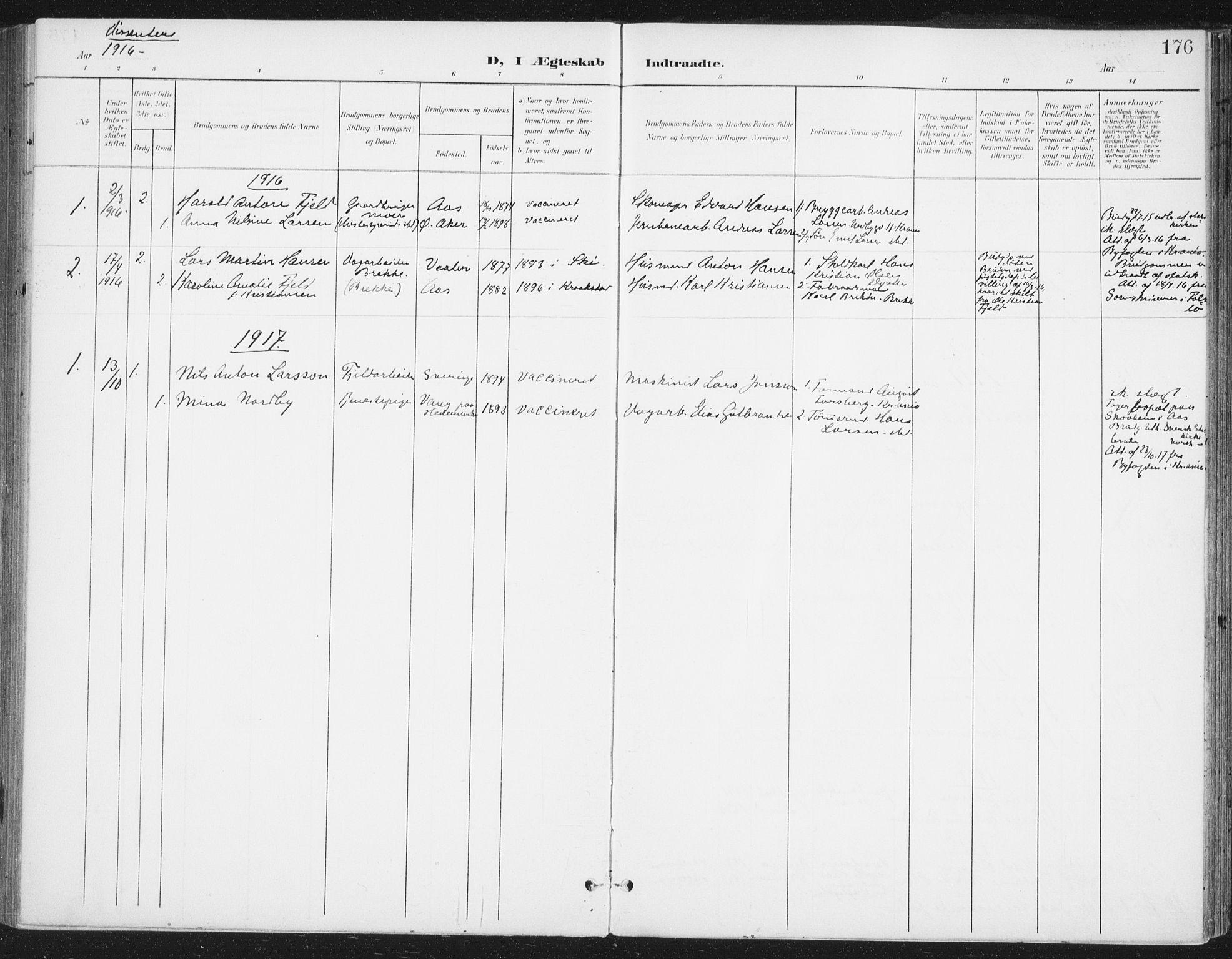 SAO, Ås prestekontor Kirkebøker, F/Fa/L0010: Ministerialbok nr. I 10, 1900-1918, s. 176