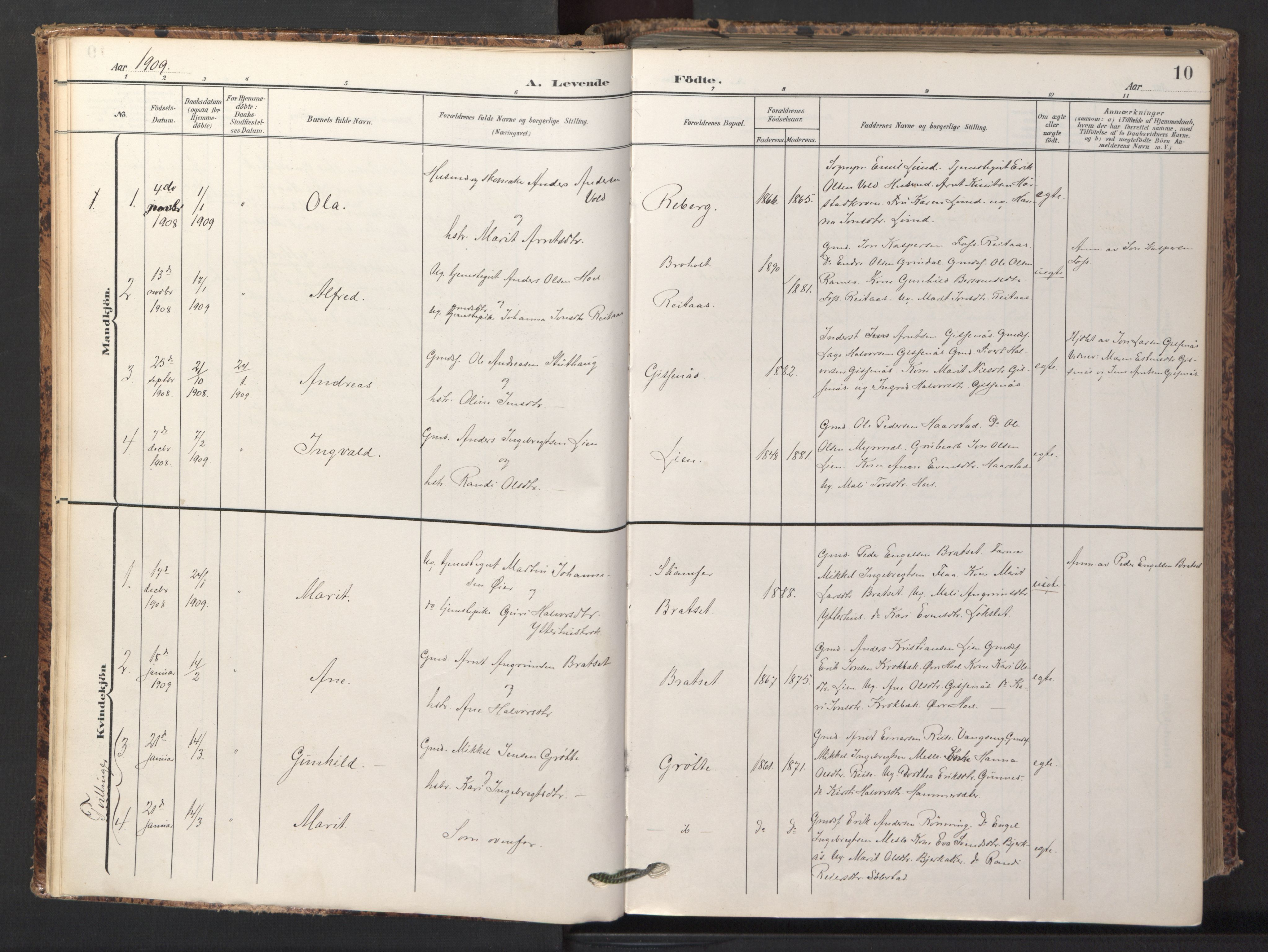 SAT, Ministerialprotokoller, klokkerbøker og fødselsregistre - Sør-Trøndelag, 674/L0873: Ministerialbok nr. 674A05, 1908-1923, s. 10