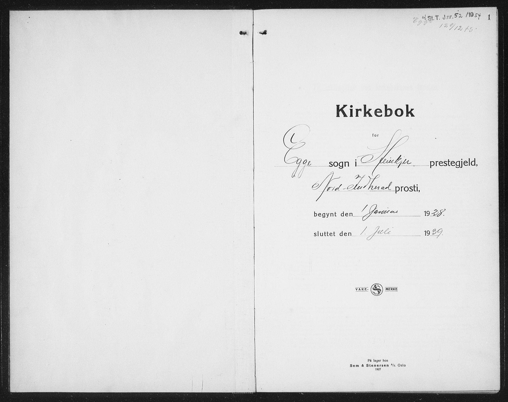 SAT, Ministerialprotokoller, klokkerbøker og fødselsregistre - Nord-Trøndelag, 740/L0383: Klokkerbok nr. 740C04, 1927-1939, s. 1