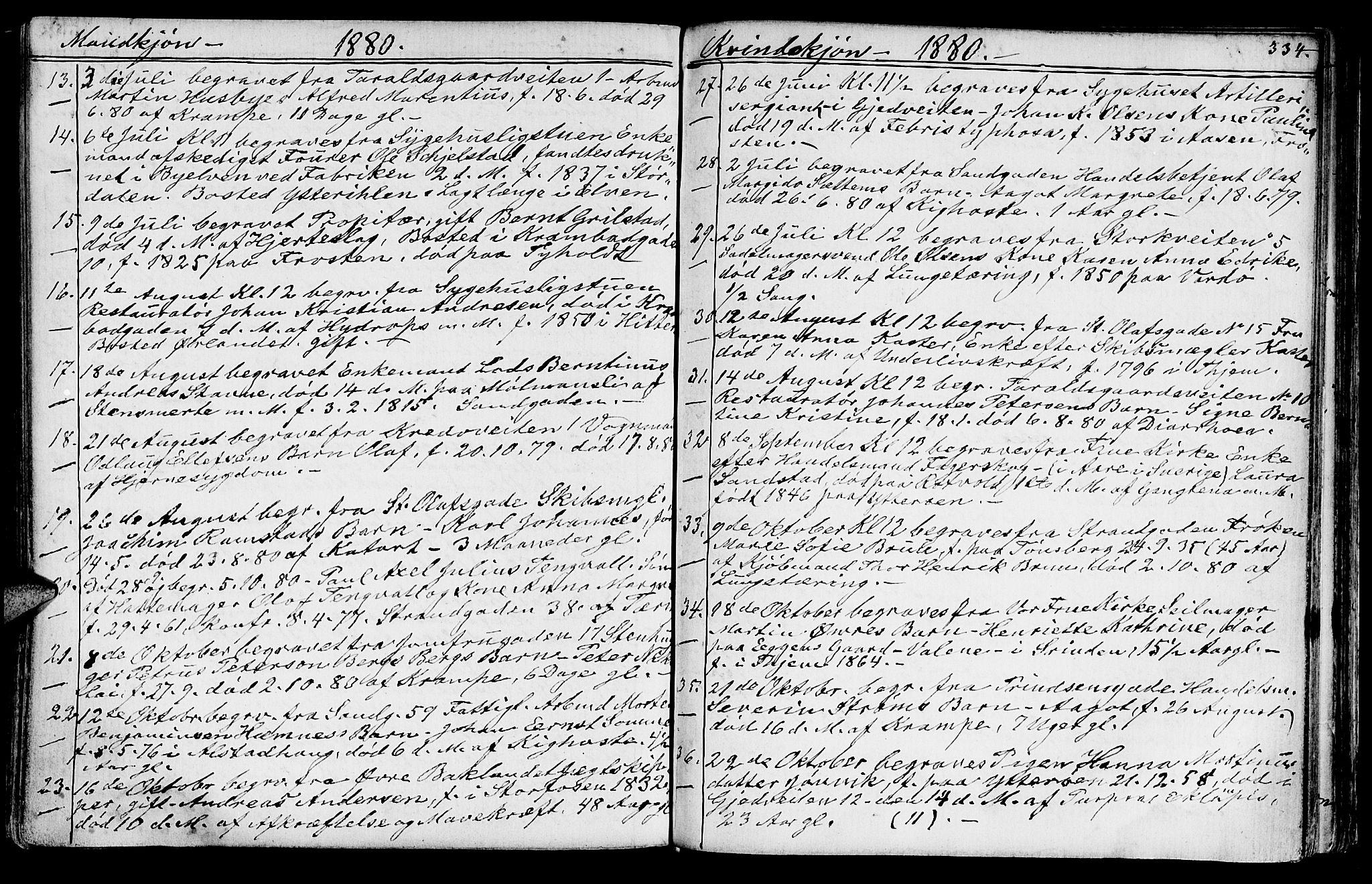 SAT, Ministerialprotokoller, klokkerbøker og fødselsregistre - Sør-Trøndelag, 602/L0142: Klokkerbok nr. 602C10, 1872-1894, s. 334