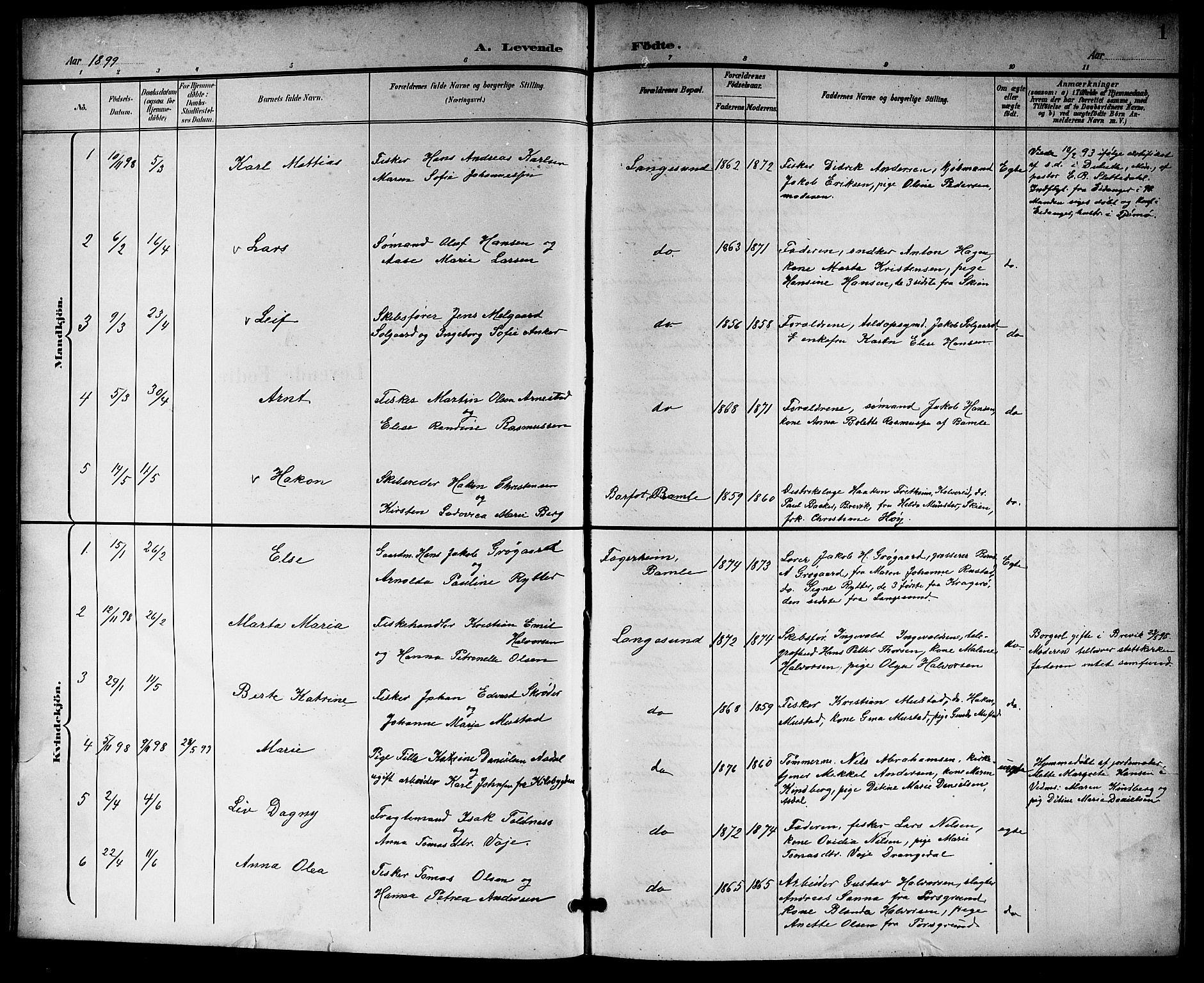 SAKO, Langesund kirkebøker, G/Ga/L0006: Klokkerbok nr. 6, 1899-1918, s. 1