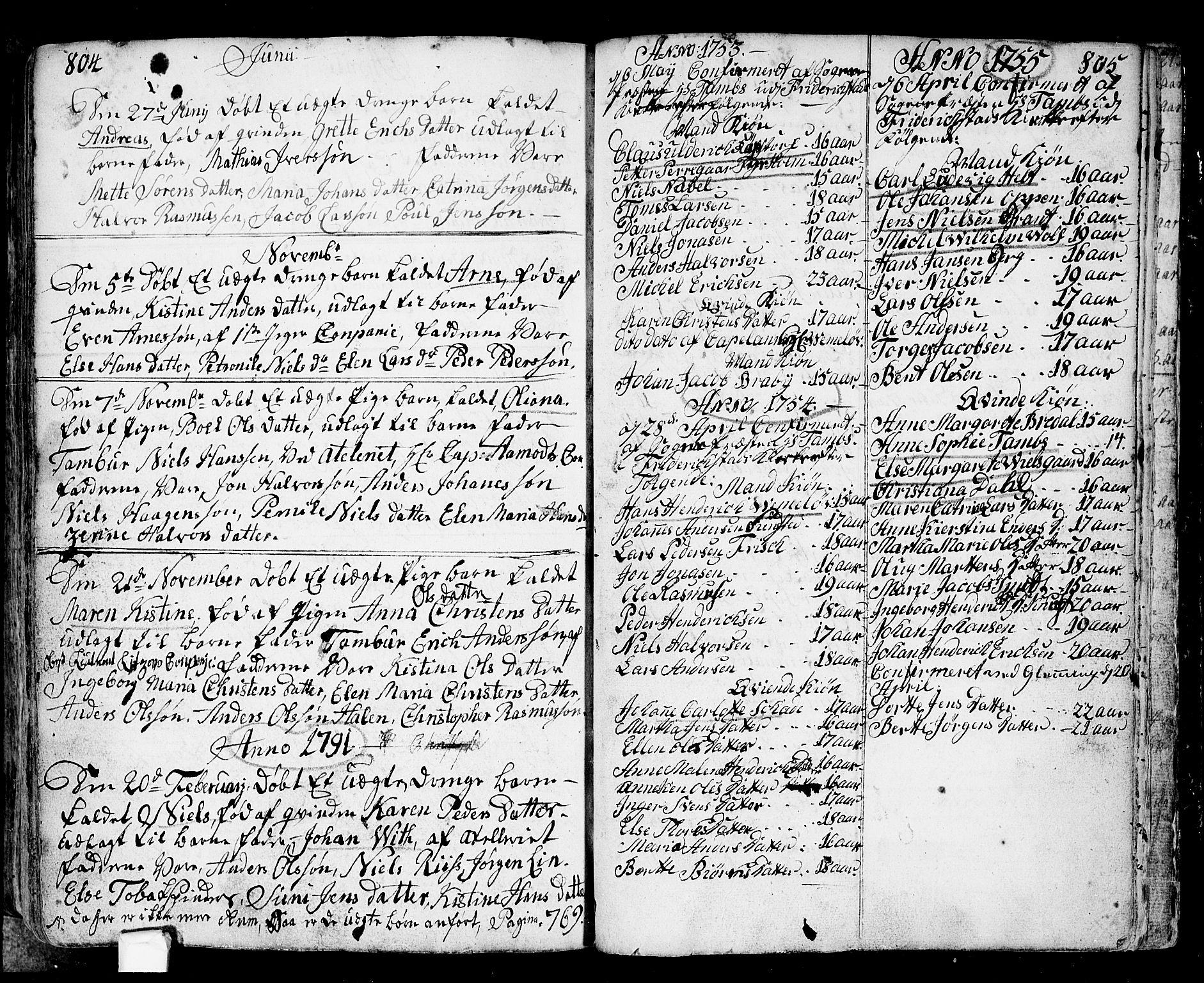 SAO, Fredrikstad prestekontor Kirkebøker, F/Fa/L0002: Ministerialbok nr. 2, 1750-1804, s. 804-805