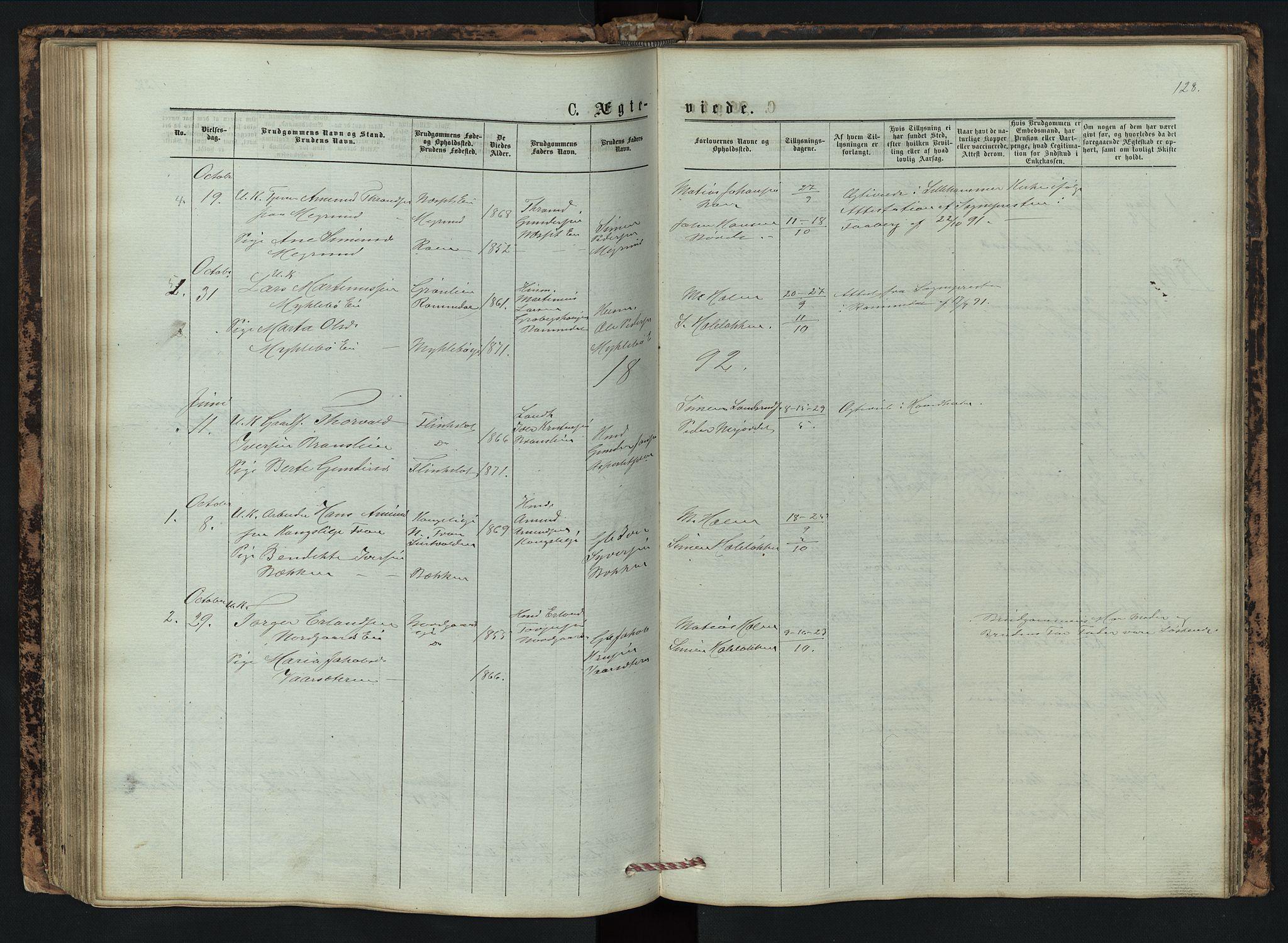 SAH, Vestre Gausdal prestekontor, Klokkerbok nr. 2, 1874-1897, s. 128