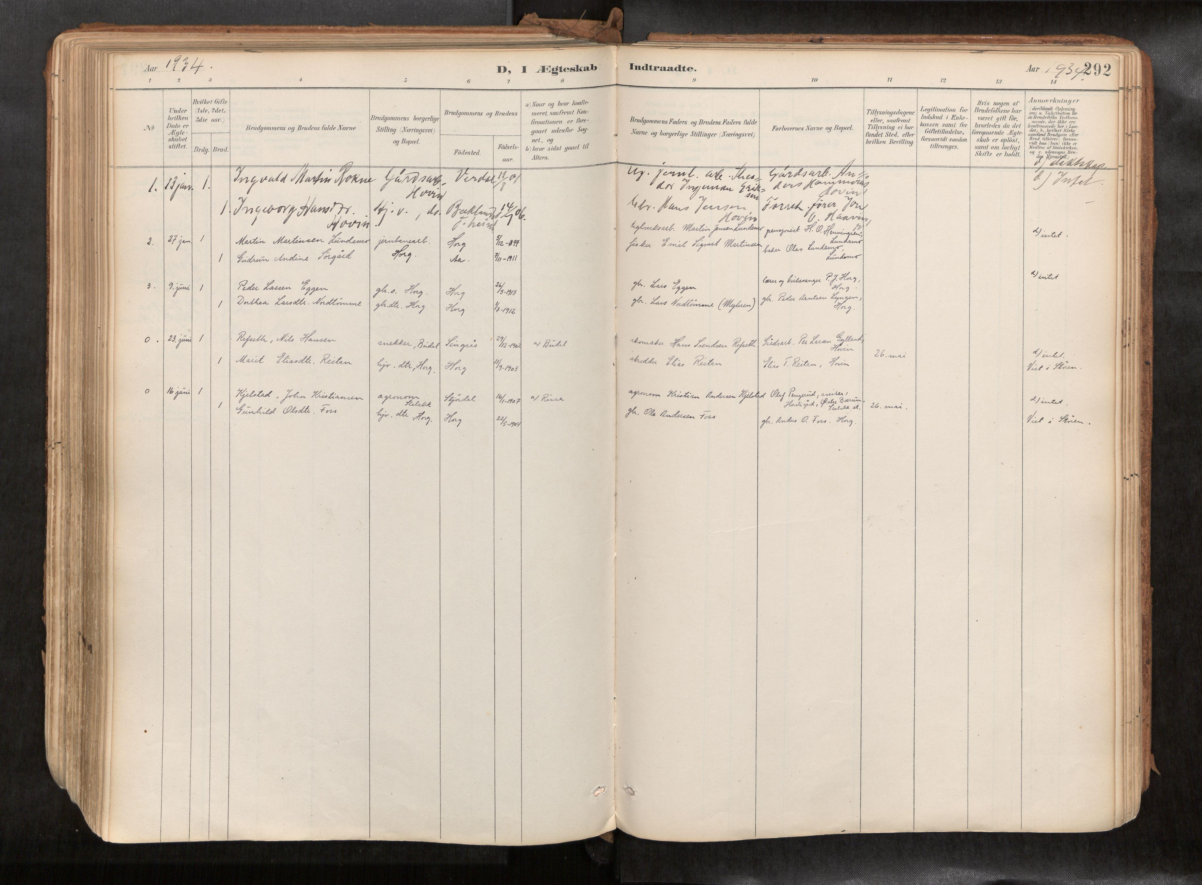 SAT, Ministerialprotokoller, klokkerbøker og fødselsregistre - Sør-Trøndelag, 692/L1105b: Ministerialbok nr. 692A06, 1891-1934, s. 292