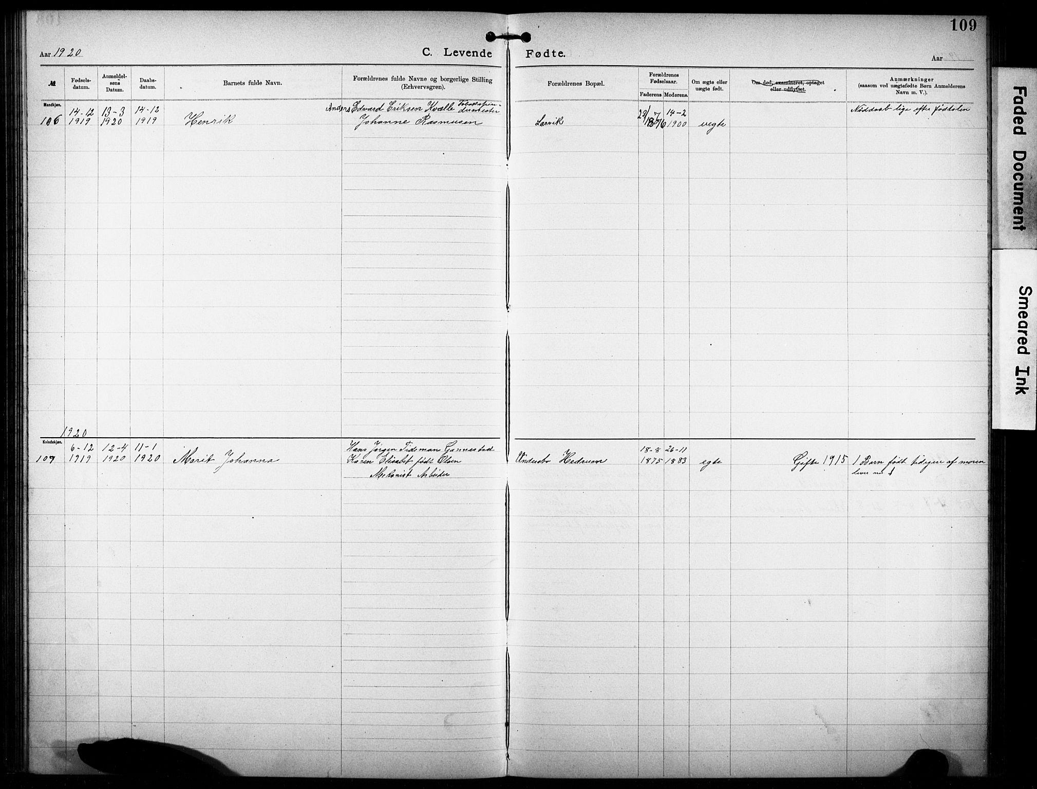SAKO, Den katolsk-apostoliske menighet i Larvik, F/Fa/L0001: Dissenterprotokoll nr. 1, 1892-1933, s. 109