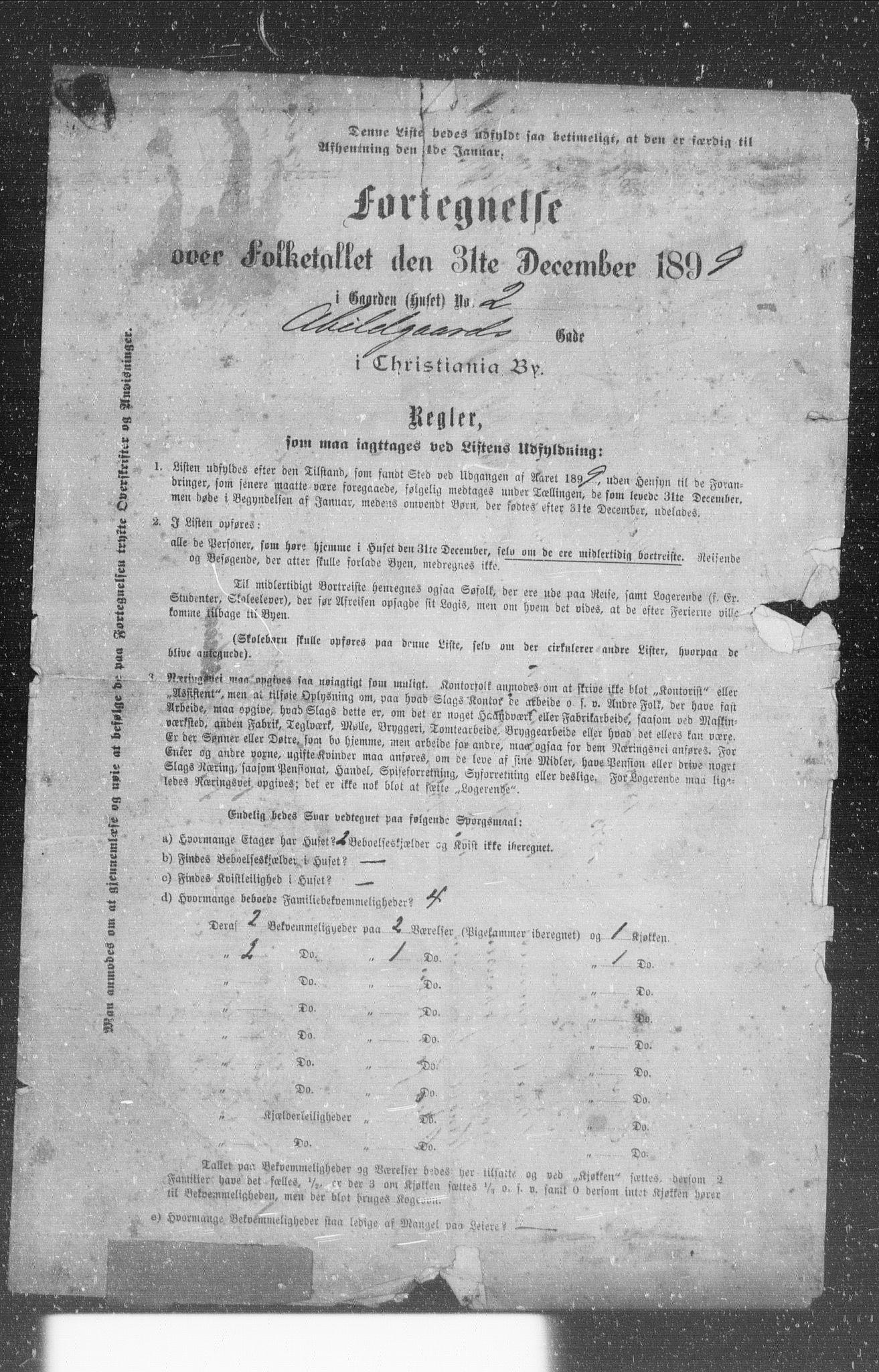 OBA, Kommunal folketelling 1899 for Kristiania kjøpstad, 1899, s. 1