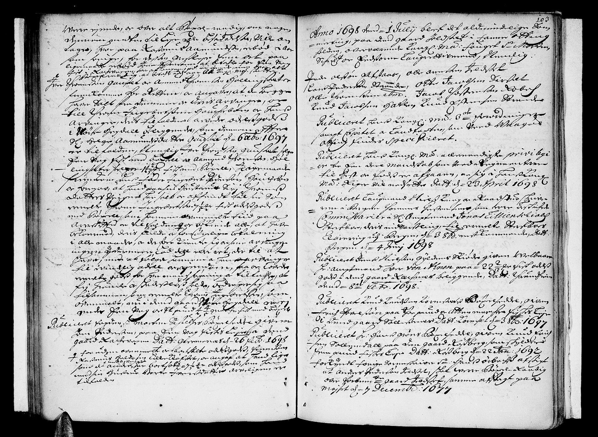 SAT, Romsdal sorenskriveri, 1/1A/L0003: Tingbok, 1694-1699, s. 102b-103a