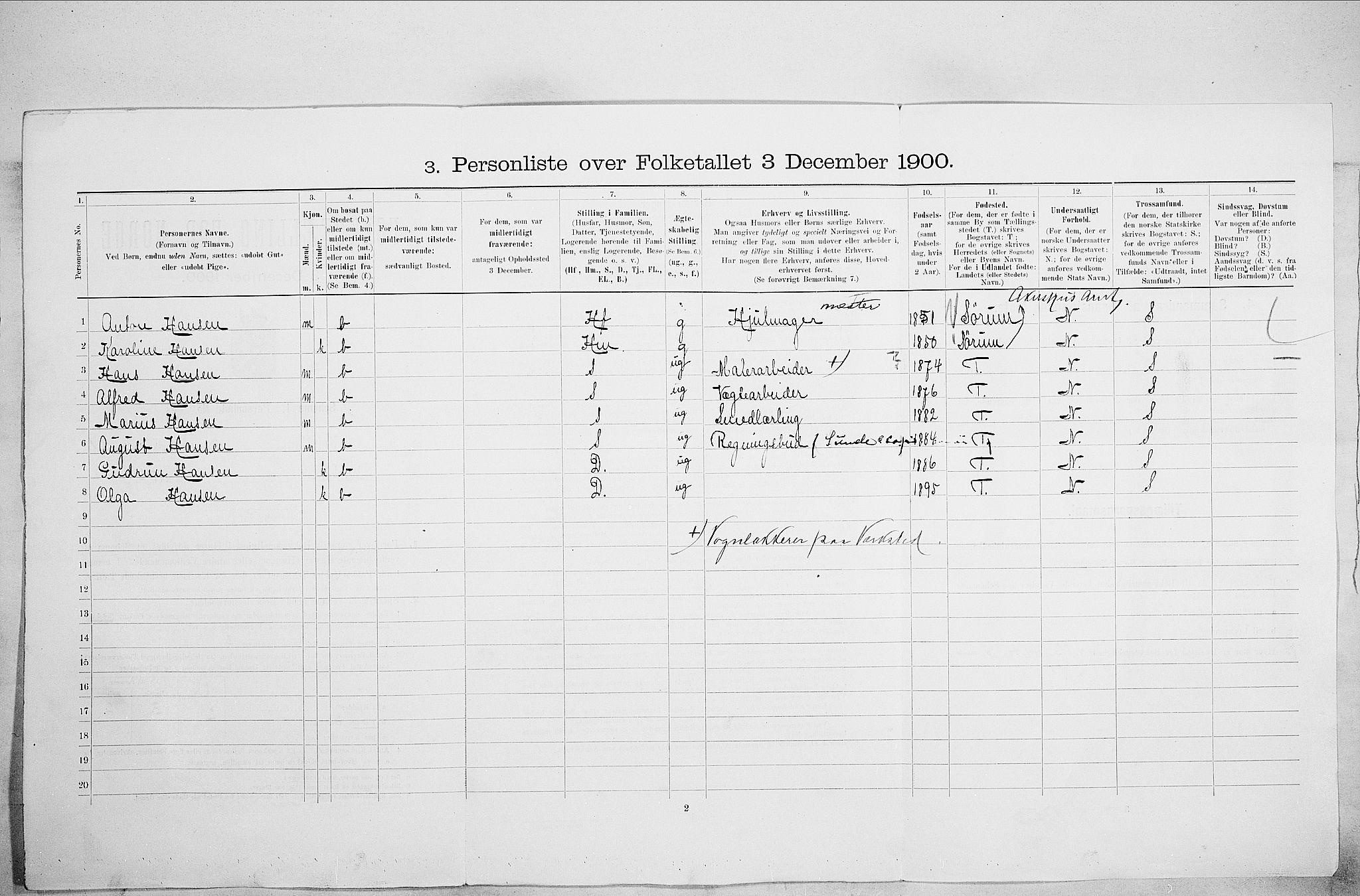 SAO, Folketelling 1900 for 0301 Kristiania kjøpstad, 1900, s. 62436
