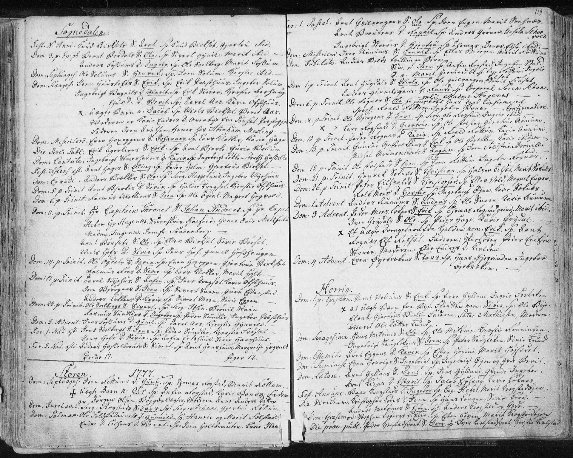SAT, Ministerialprotokoller, klokkerbøker og fødselsregistre - Sør-Trøndelag, 687/L0991: Ministerialbok nr. 687A02, 1747-1790, s. 119