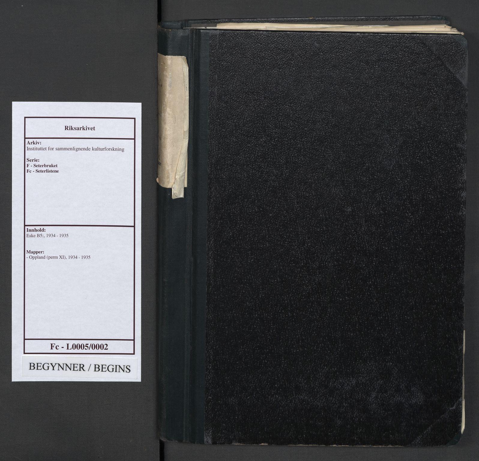 RA, Instituttet for sammenlignende kulturforskning, F/Fc/L0005: Eske B5:, 1934-1935, s. upaginert