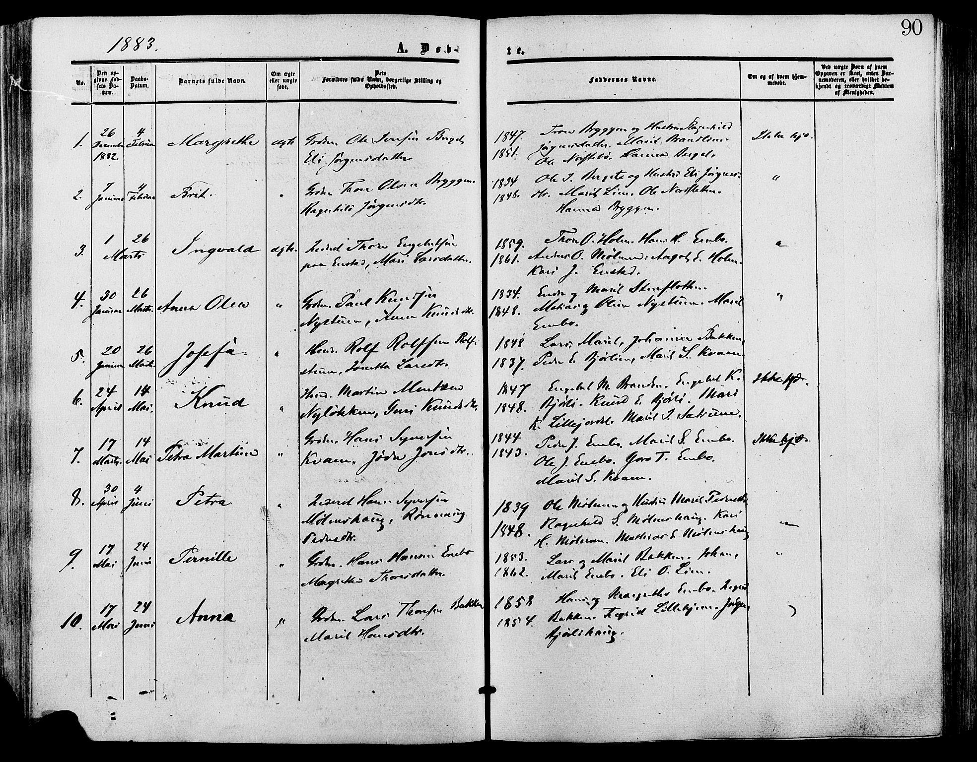 SAH, Lesja prestekontor, Ministerialbok nr. 9, 1854-1889, s. 90