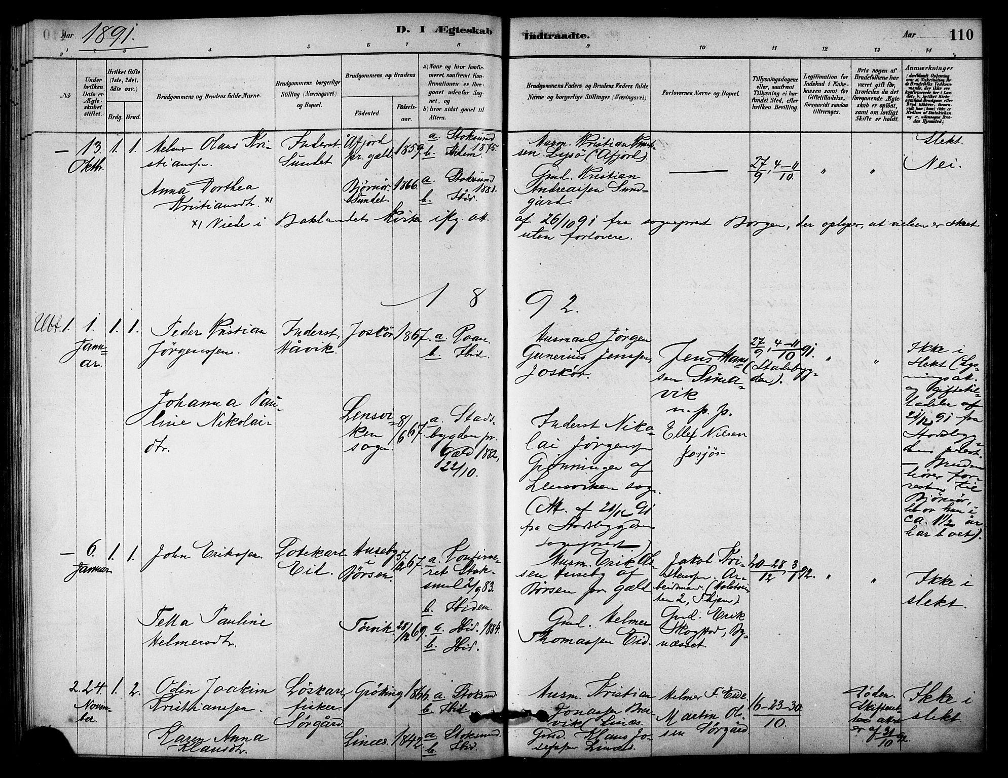 SAT, Ministerialprotokoller, klokkerbøker og fødselsregistre - Sør-Trøndelag, 656/L0692: Ministerialbok nr. 656A01, 1879-1893, s. 110