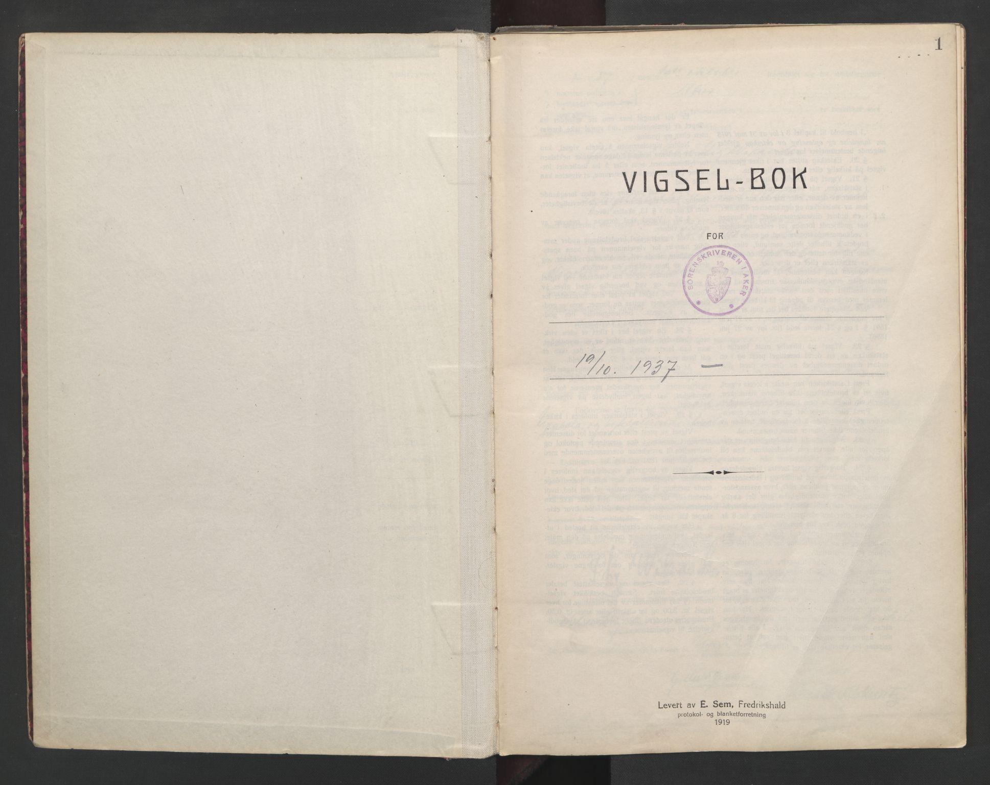 SAO, Aker sorenskriveri, L/Lc/Lcb/L0010: Vigselprotokoll, 1937-1938, s. 1