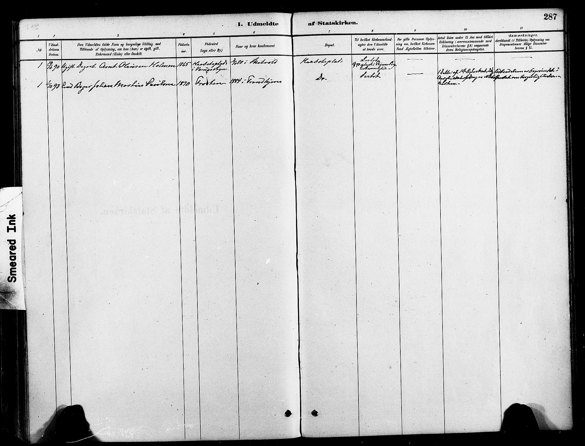 SAT, Ministerialprotokoller, klokkerbøker og fødselsregistre - Nord-Trøndelag, 709/L0077: Ministerialbok nr. 709A17, 1880-1895, s. 287