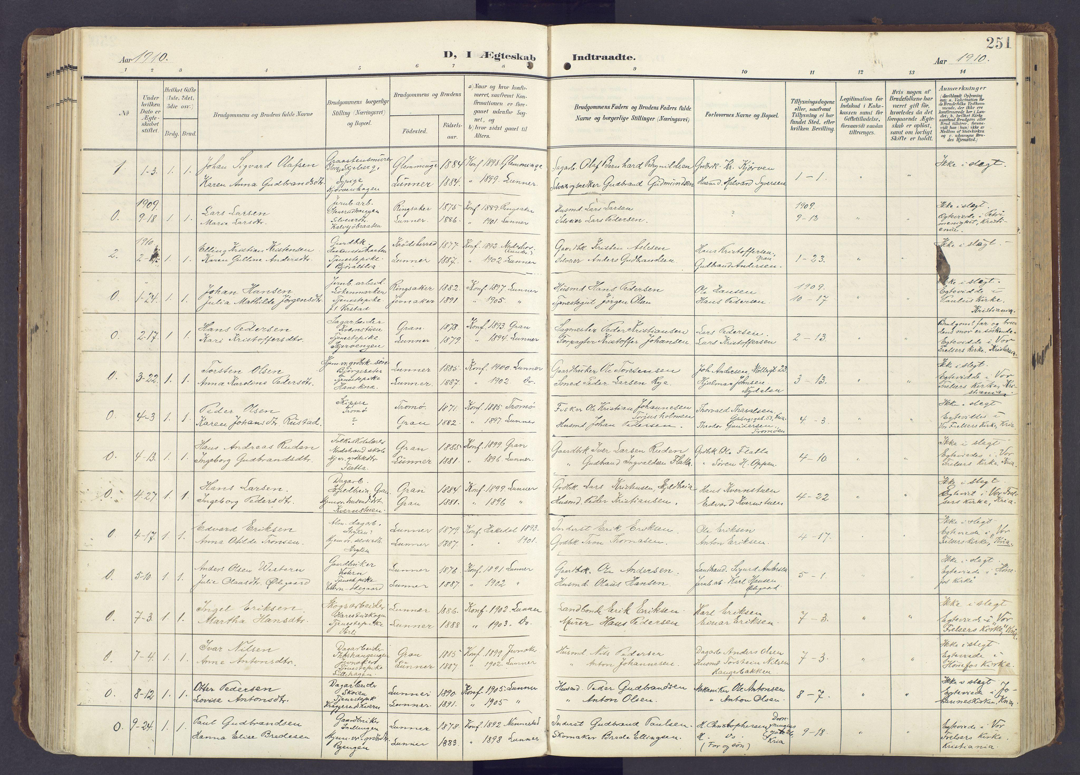 SAH, Lunner prestekontor, H/Ha/Haa/L0001: Ministerialbok nr. 1, 1907-1922, s. 251