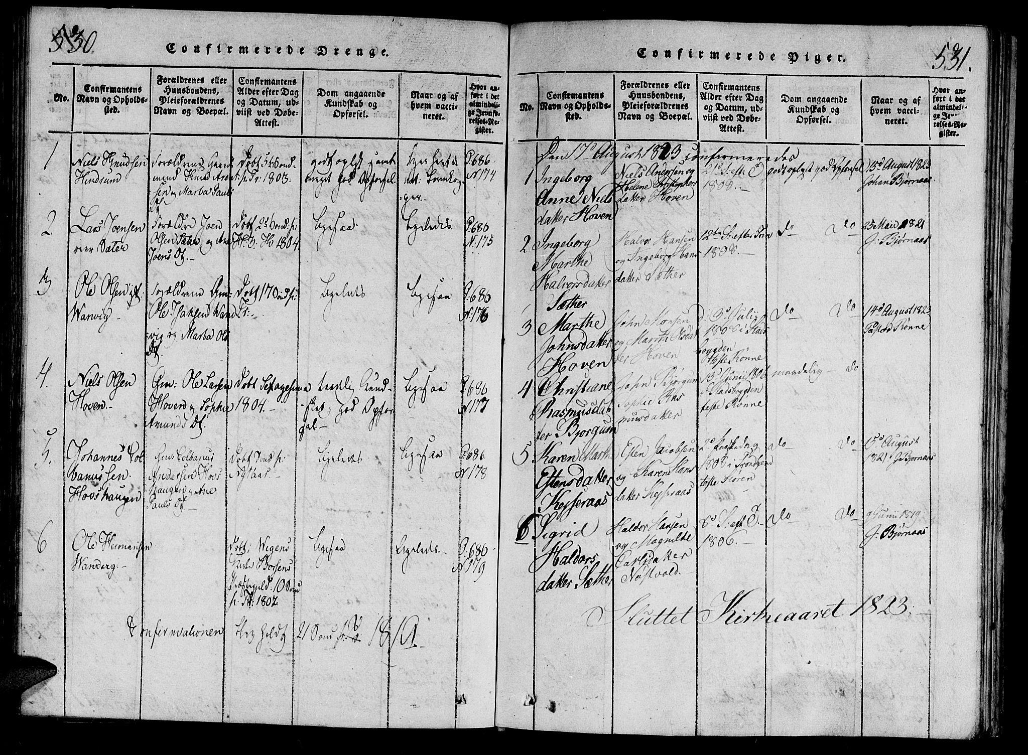 SAT, Ministerialprotokoller, klokkerbøker og fødselsregistre - Nord-Trøndelag, 701/L0005: Ministerialbok nr. 701A05 /2, 1816-1825, s. 530-531