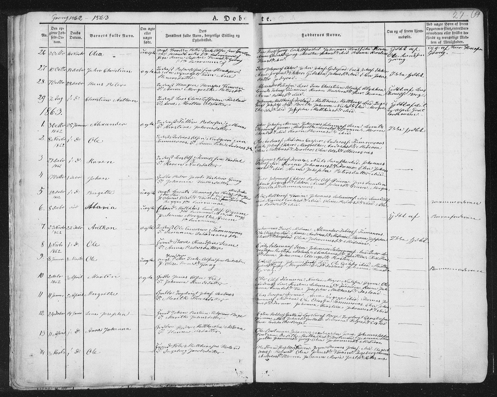 SAT, Ministerialprotokoller, klokkerbøker og fødselsregistre - Nord-Trøndelag, 758/L0513: Ministerialbok nr. 758A02 /1, 1839-1868, s. 27