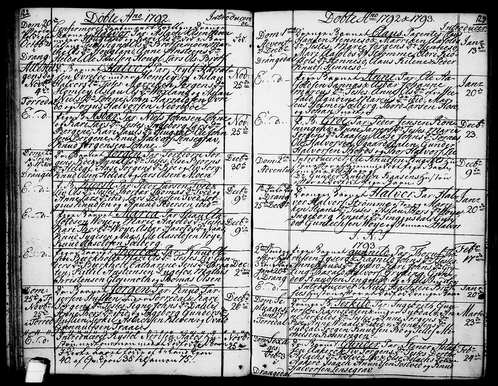 SAKO, Drangedal kirkebøker, F/Fa/L0003: Ministerialbok nr. 3, 1768-1814, s. 122-123