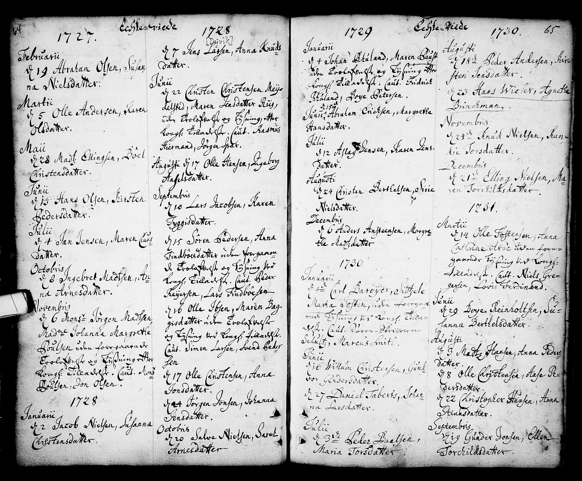 SAKO, Kragerø kirkebøker, F/Fa/L0001: Ministerialbok nr. 1, 1702-1766, s. 64-65