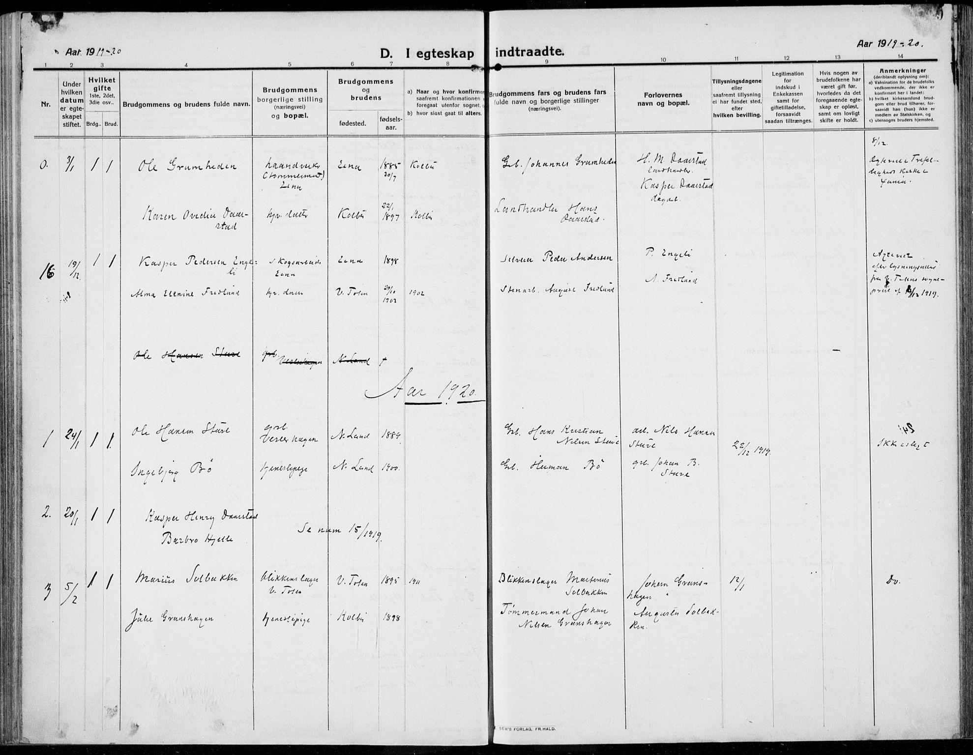 SAH, Kolbu prestekontor, Ministerialbok nr. 2, 1912-1926, s. 209
