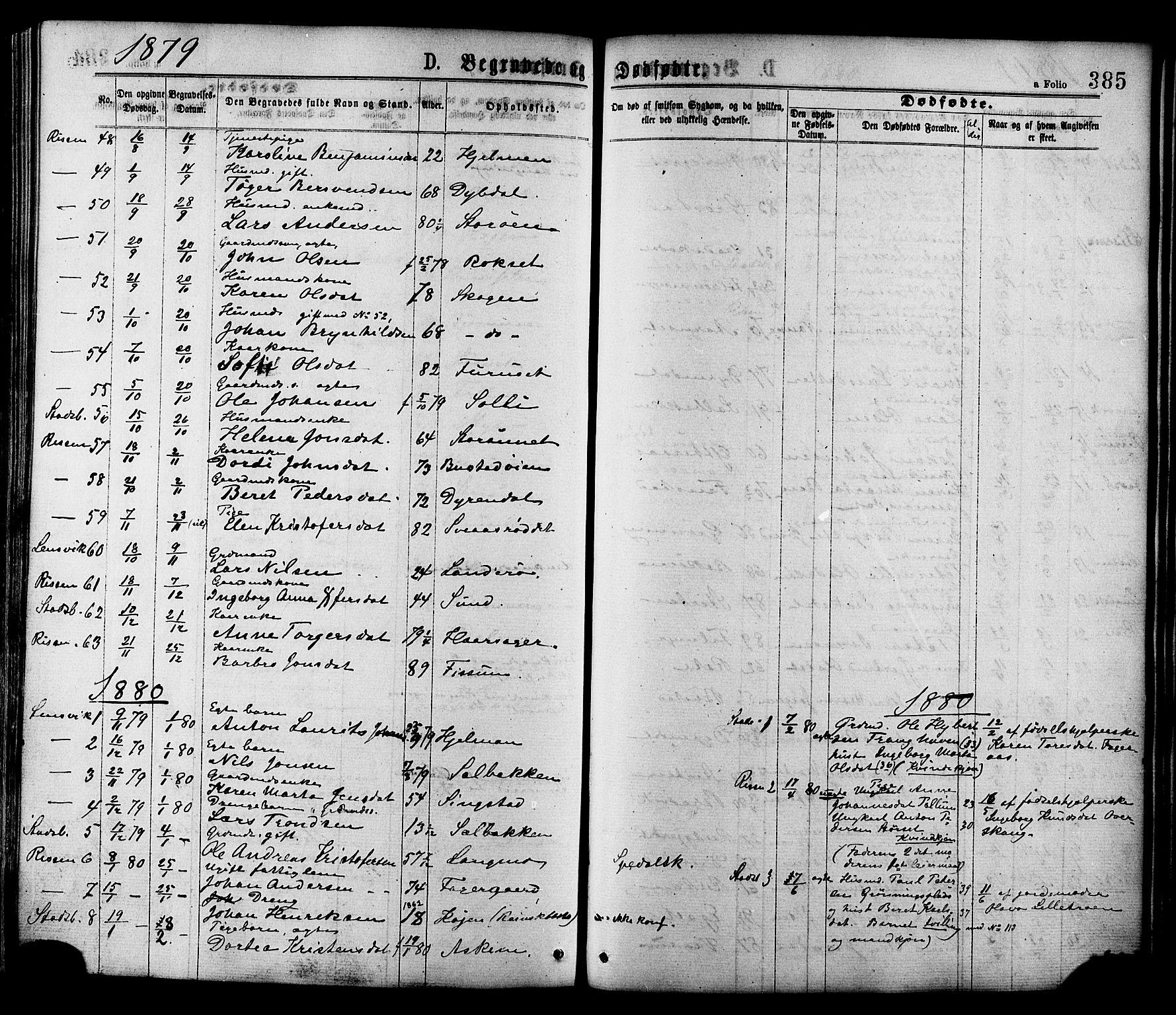 SAT, Ministerialprotokoller, klokkerbøker og fødselsregistre - Sør-Trøndelag, 646/L0613: Ministerialbok nr. 646A11, 1870-1884, s. 385