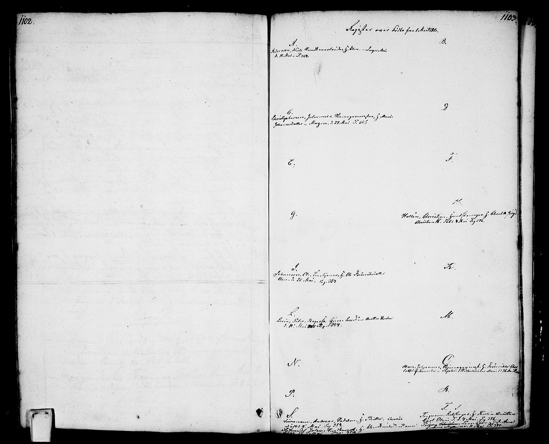 SAO, Oslo domkirke Kirkebøker, F/Fa/L0006: Ministerialbok nr. 6, 1807-1817, s. 1102-1103