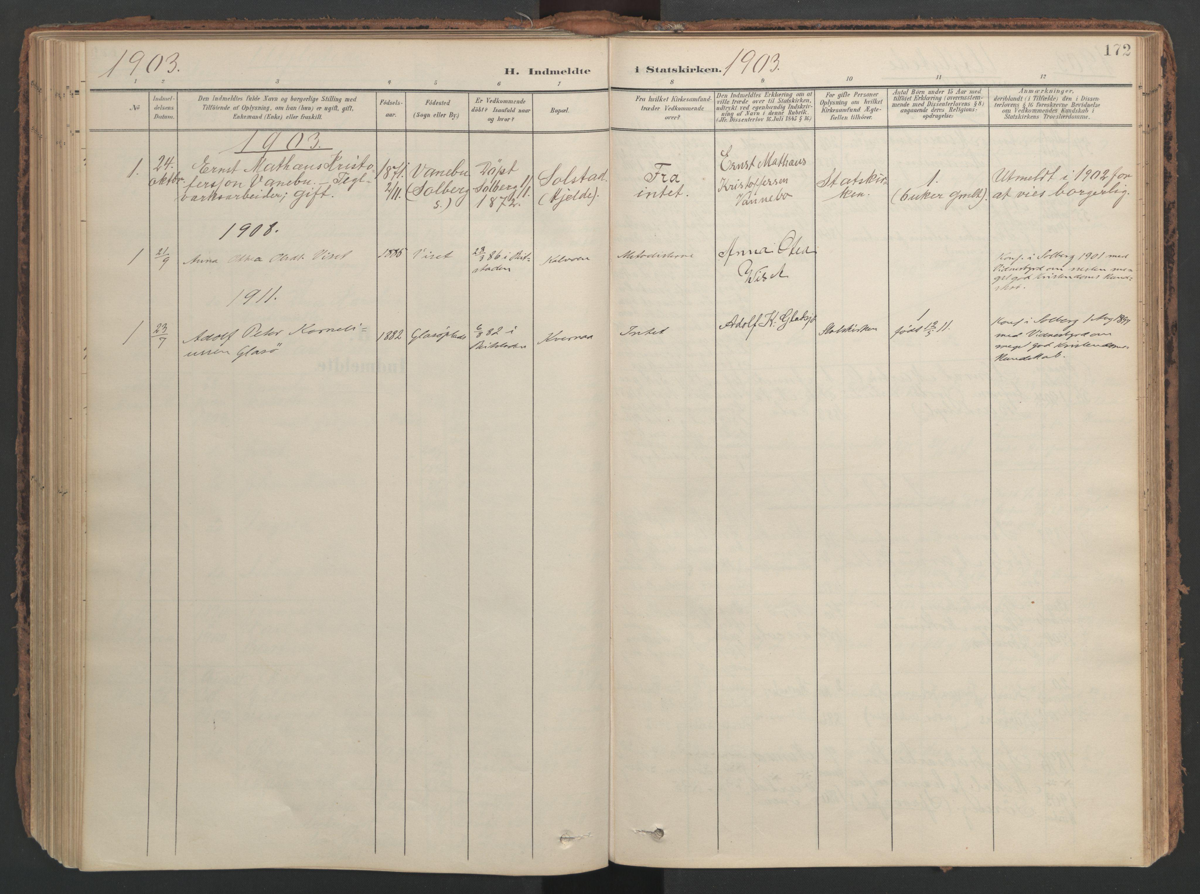 SAT, Ministerialprotokoller, klokkerbøker og fødselsregistre - Nord-Trøndelag, 741/L0397: Ministerialbok nr. 741A11, 1901-1911, s. 172