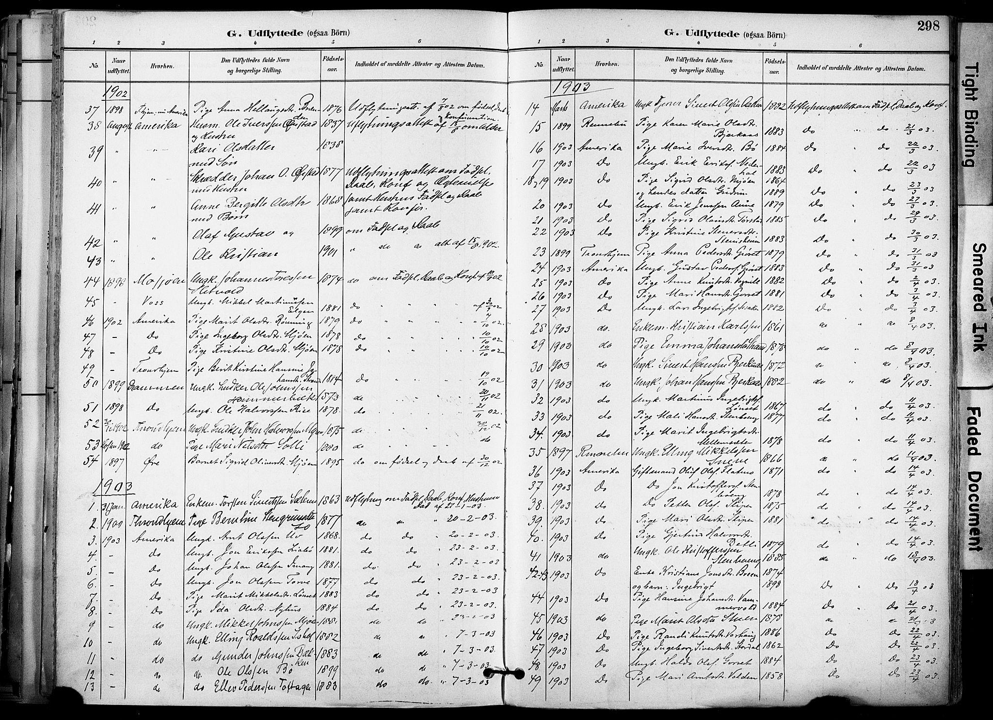 SAT, Ministerialprotokoller, klokkerbøker og fødselsregistre - Sør-Trøndelag, 678/L0902: Ministerialbok nr. 678A11, 1895-1911, s. 298