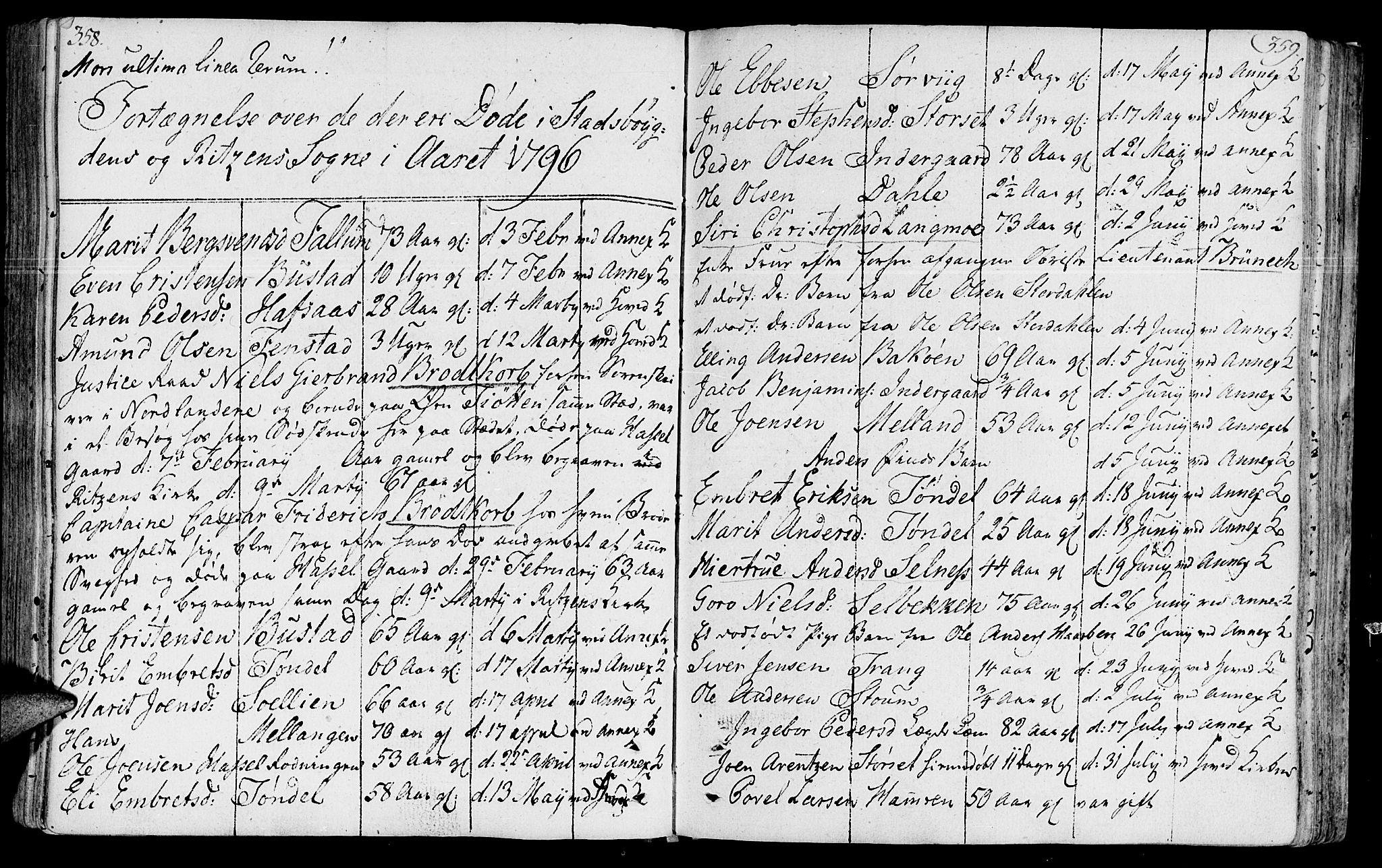 SAT, Ministerialprotokoller, klokkerbøker og fødselsregistre - Sør-Trøndelag, 646/L0606: Ministerialbok nr. 646A04, 1791-1805, s. 358-359