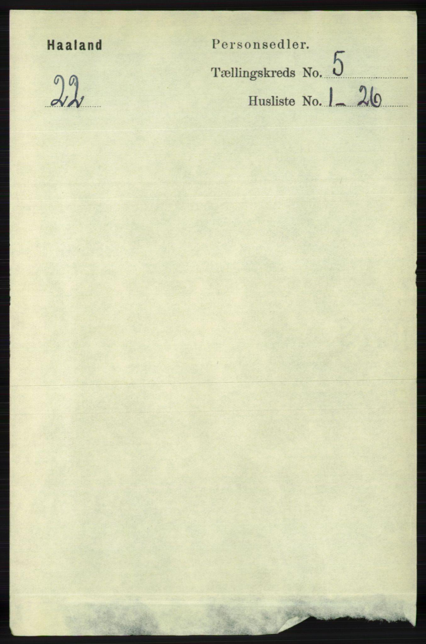 RA, Folketelling 1891 for 1124 Haaland herred, 1891, s. 3298