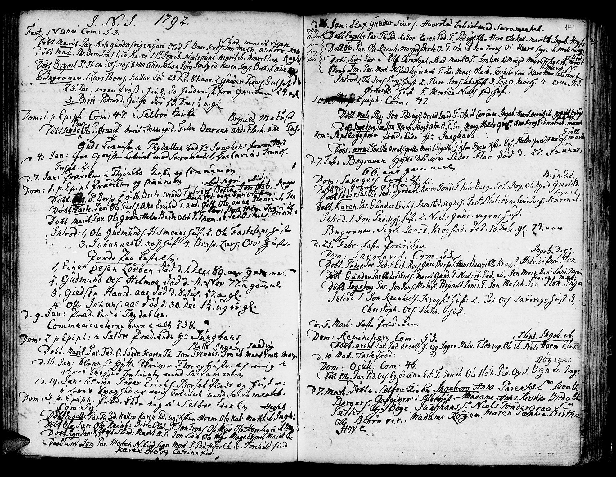 SAT, Ministerialprotokoller, klokkerbøker og fødselsregistre - Sør-Trøndelag, 695/L1138: Ministerialbok nr. 695A02 /1, 1757-1801, s. 141