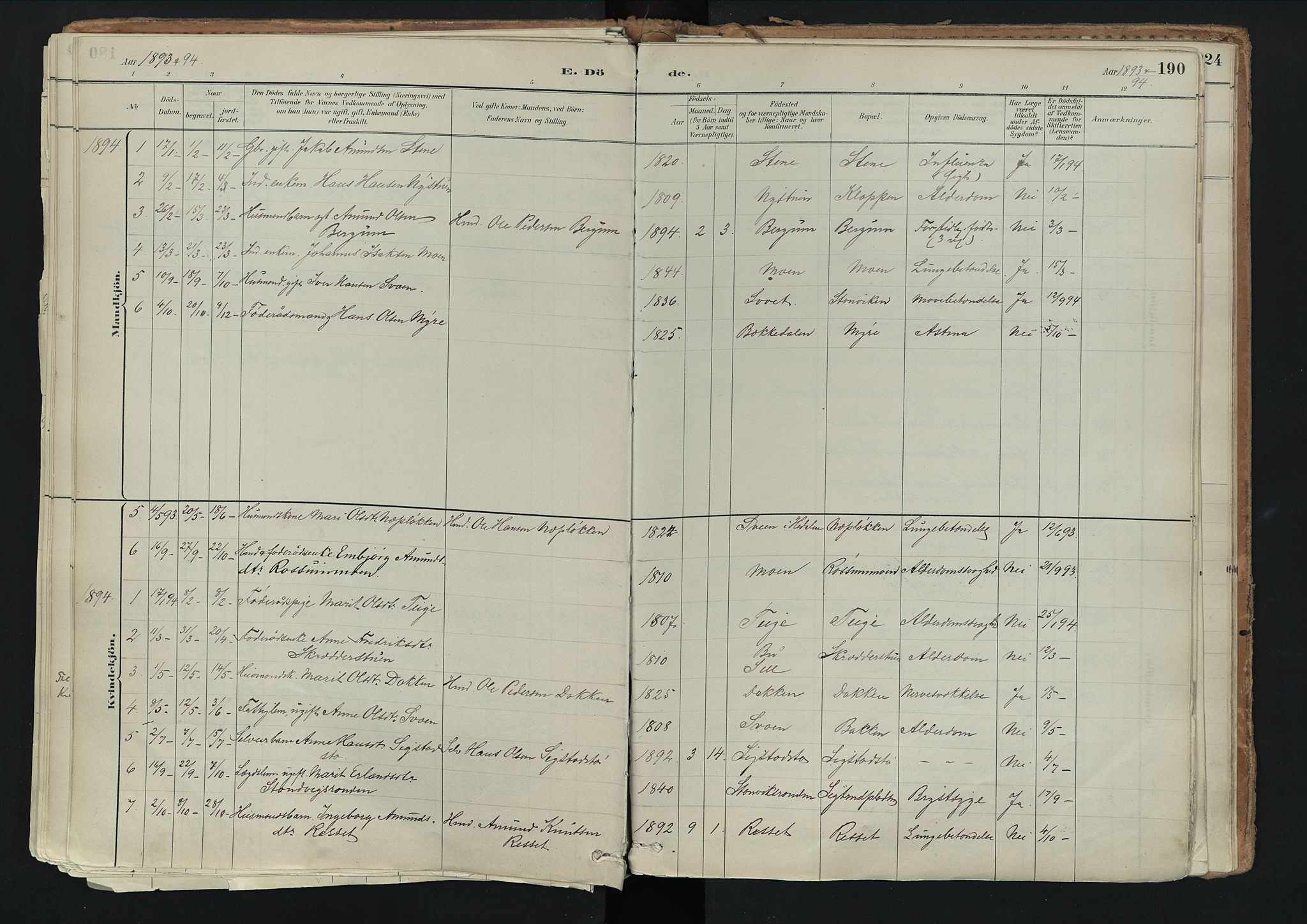 SAH, Nord-Fron prestekontor, Ministerialbok nr. 3, 1884-1914, s. 190