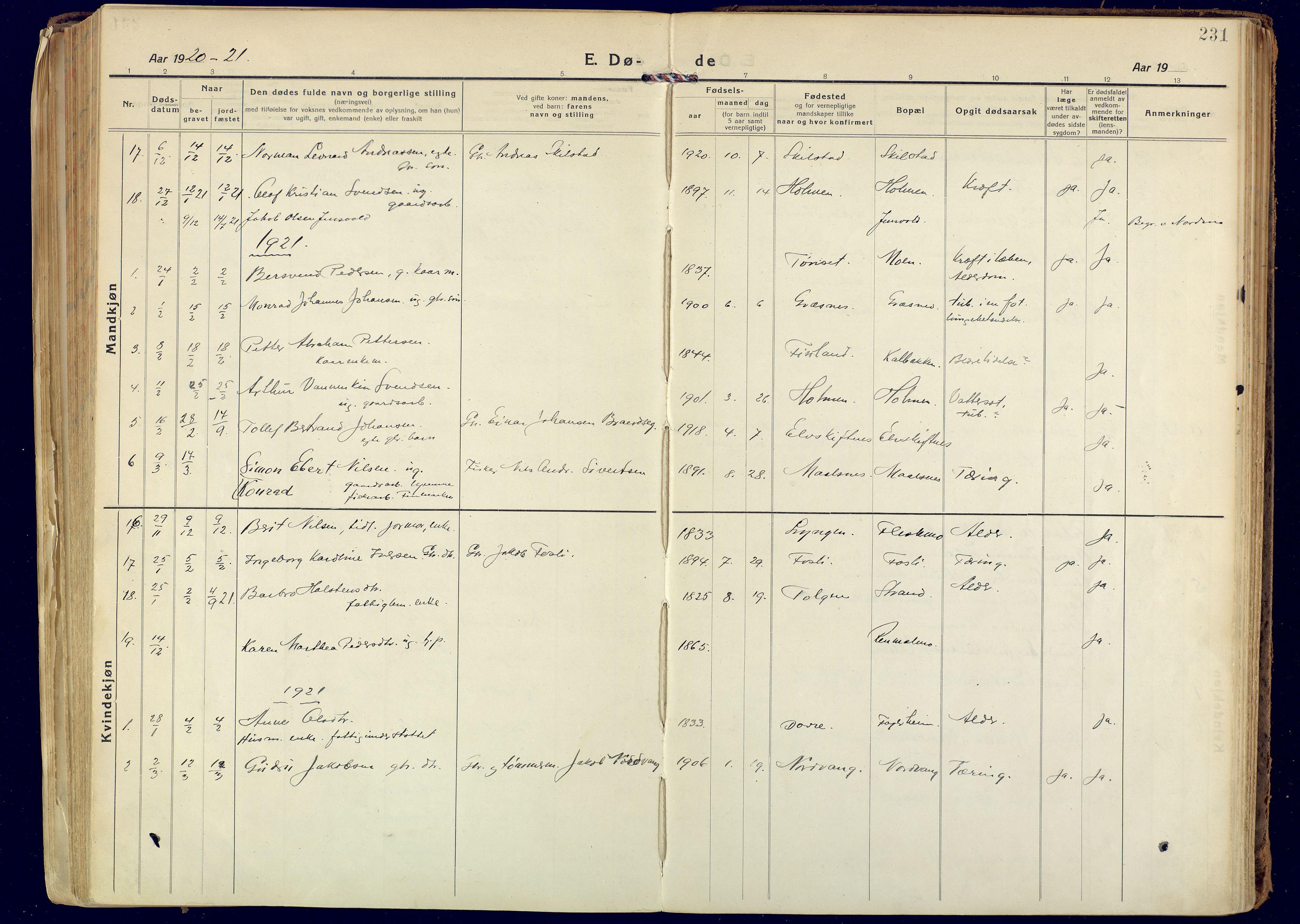 SATØ, Målselv sokneprestembete, Ministerialbok nr. 14, 1919-1932, s. 231