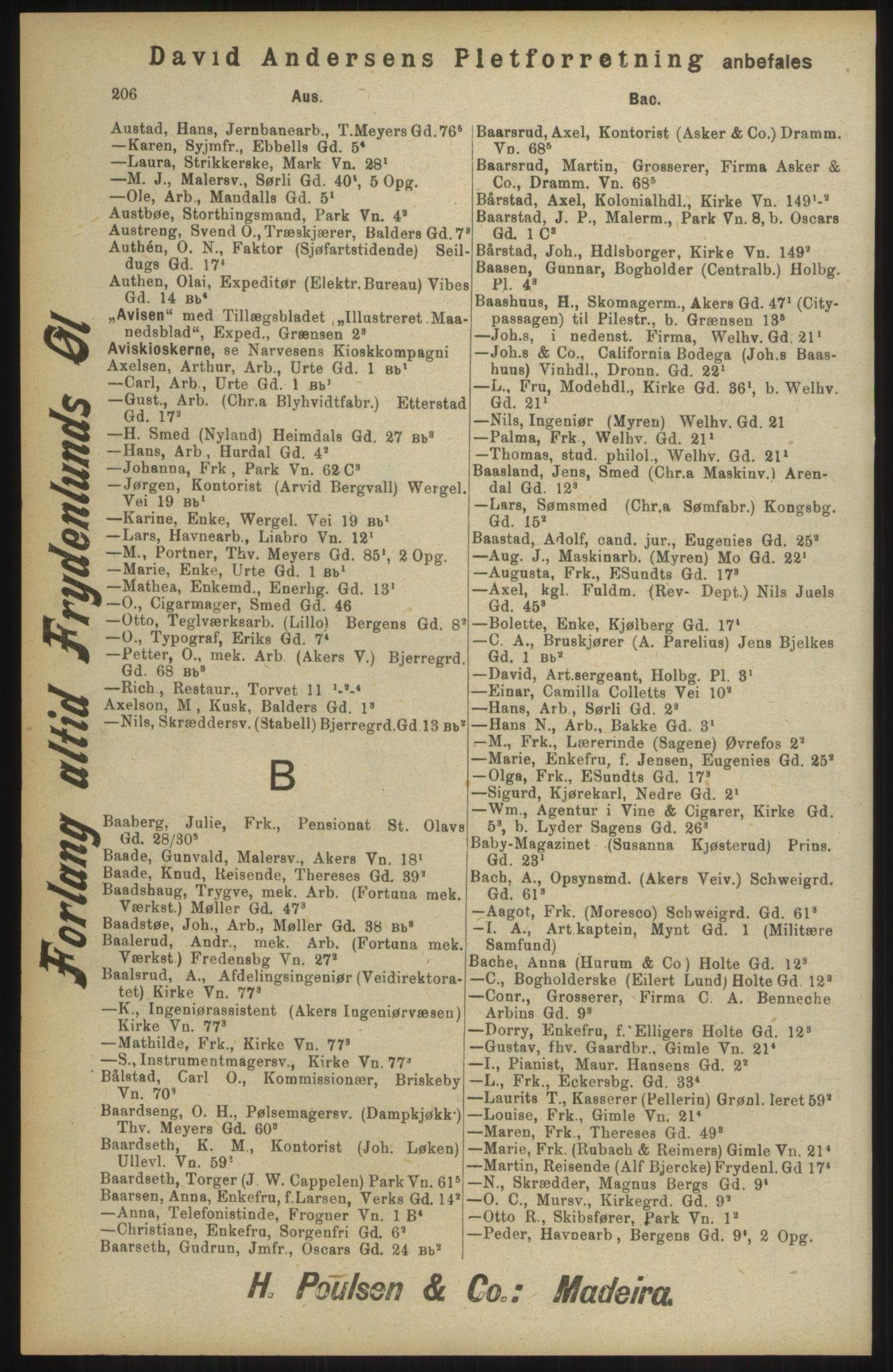 RA, Kristiania adressebok (publikasjon)*, 1904, s. 206