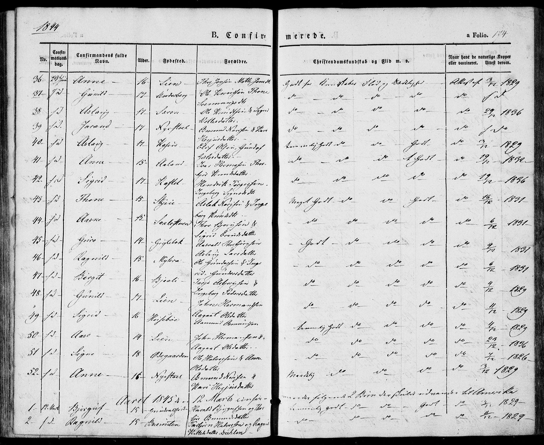 SAKO, Vinje kirkebøker, F/Fa/L0004: Ministerialbok nr. I 4, 1843-1869, s. 174