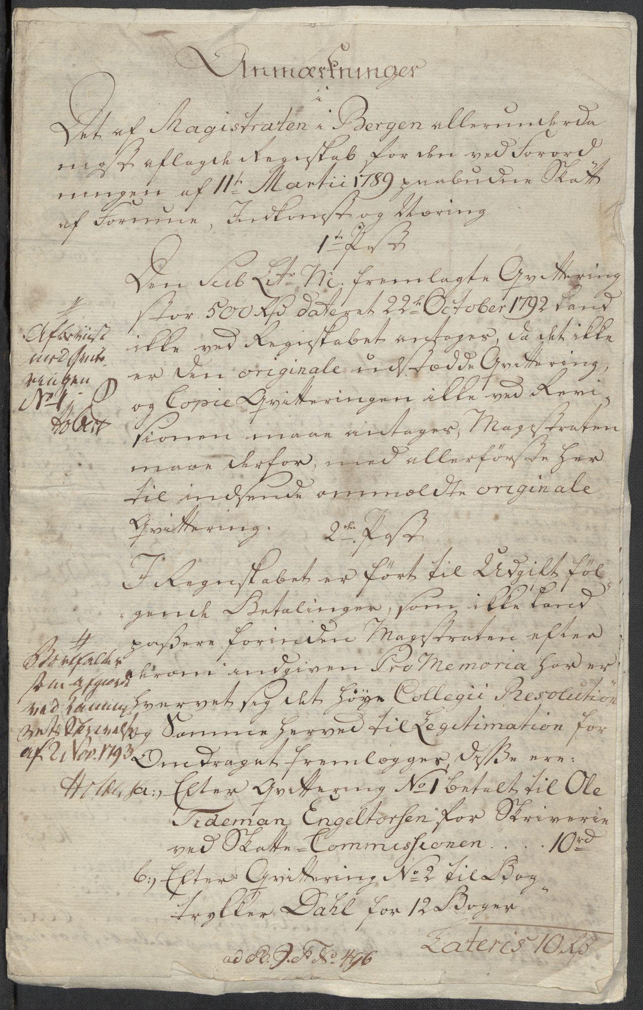 RA, Rentekammeret inntil 1814, Reviderte regnskaper, Mindre regnskaper, Rf/Rfe/L0002: Arendal. Bergen, 1789, s. 39