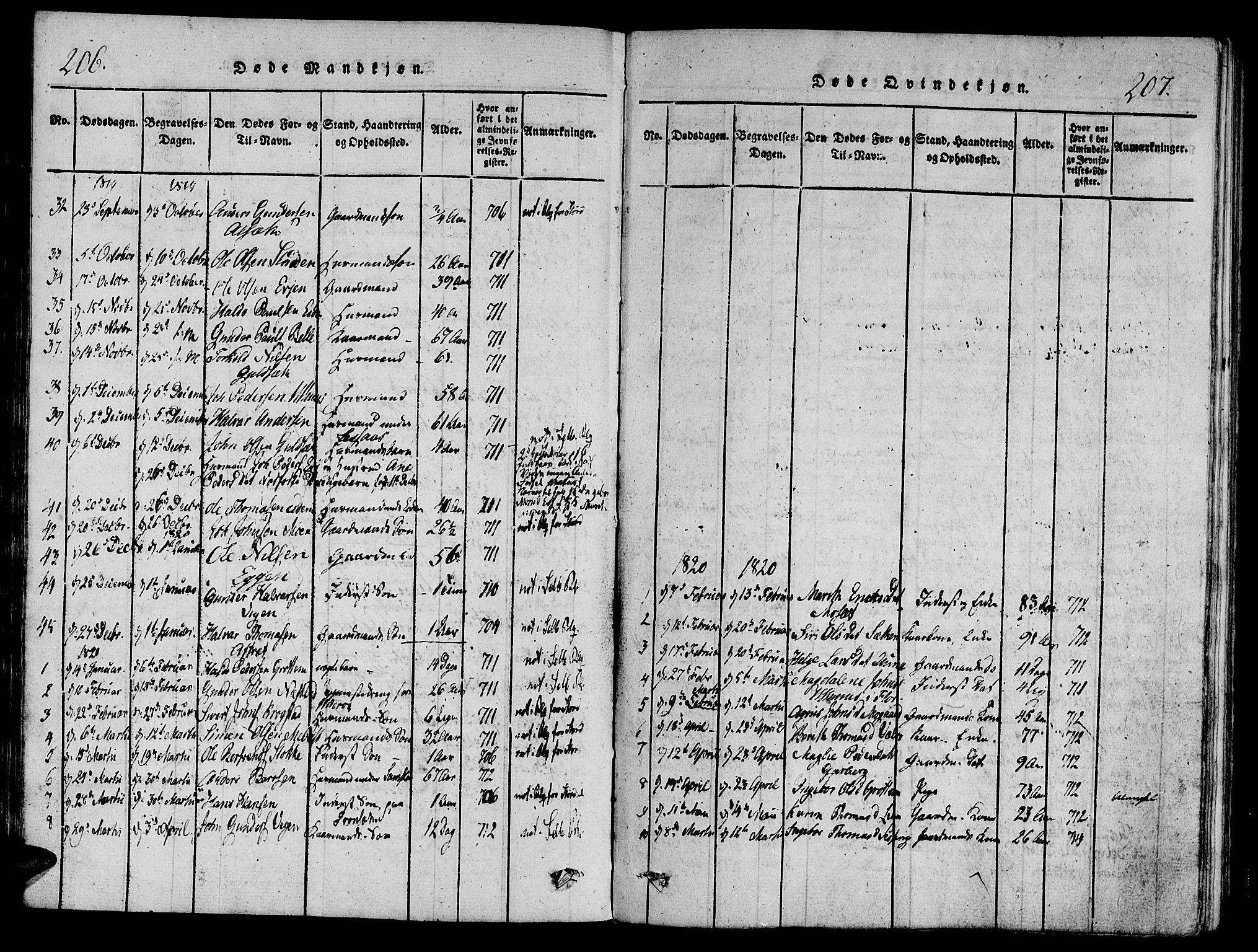 SAT, Ministerialprotokoller, klokkerbøker og fødselsregistre - Sør-Trøndelag, 695/L1141: Ministerialbok nr. 695A04 /1, 1816-1824, s. 206-207