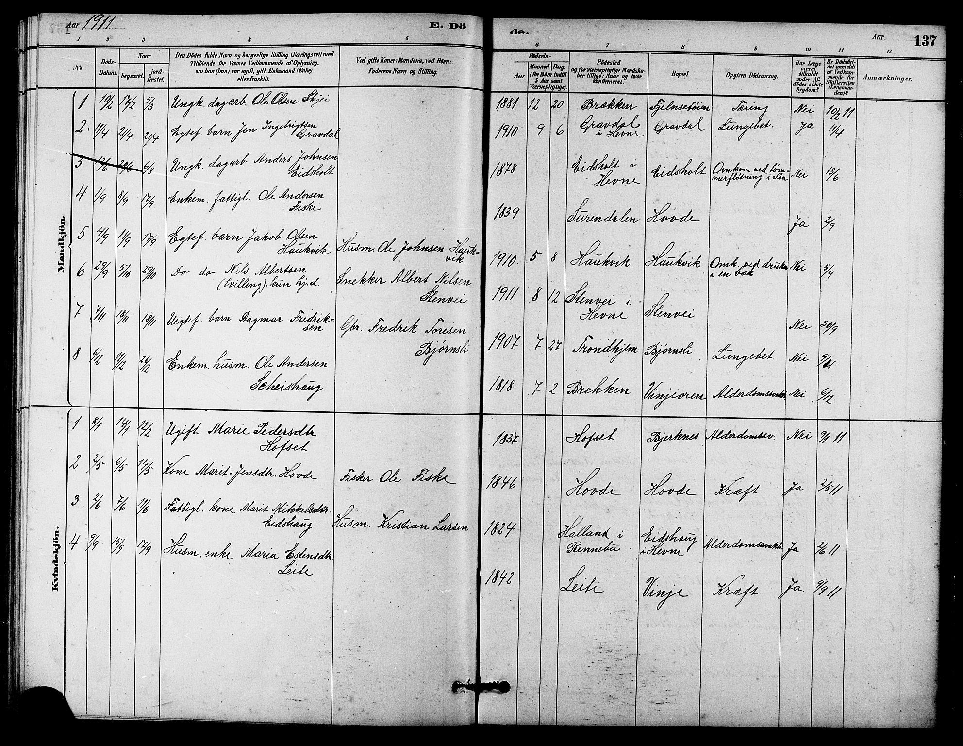SAT, Ministerialprotokoller, klokkerbøker og fødselsregistre - Sør-Trøndelag, 631/L0514: Klokkerbok nr. 631C02, 1879-1912, s. 137
