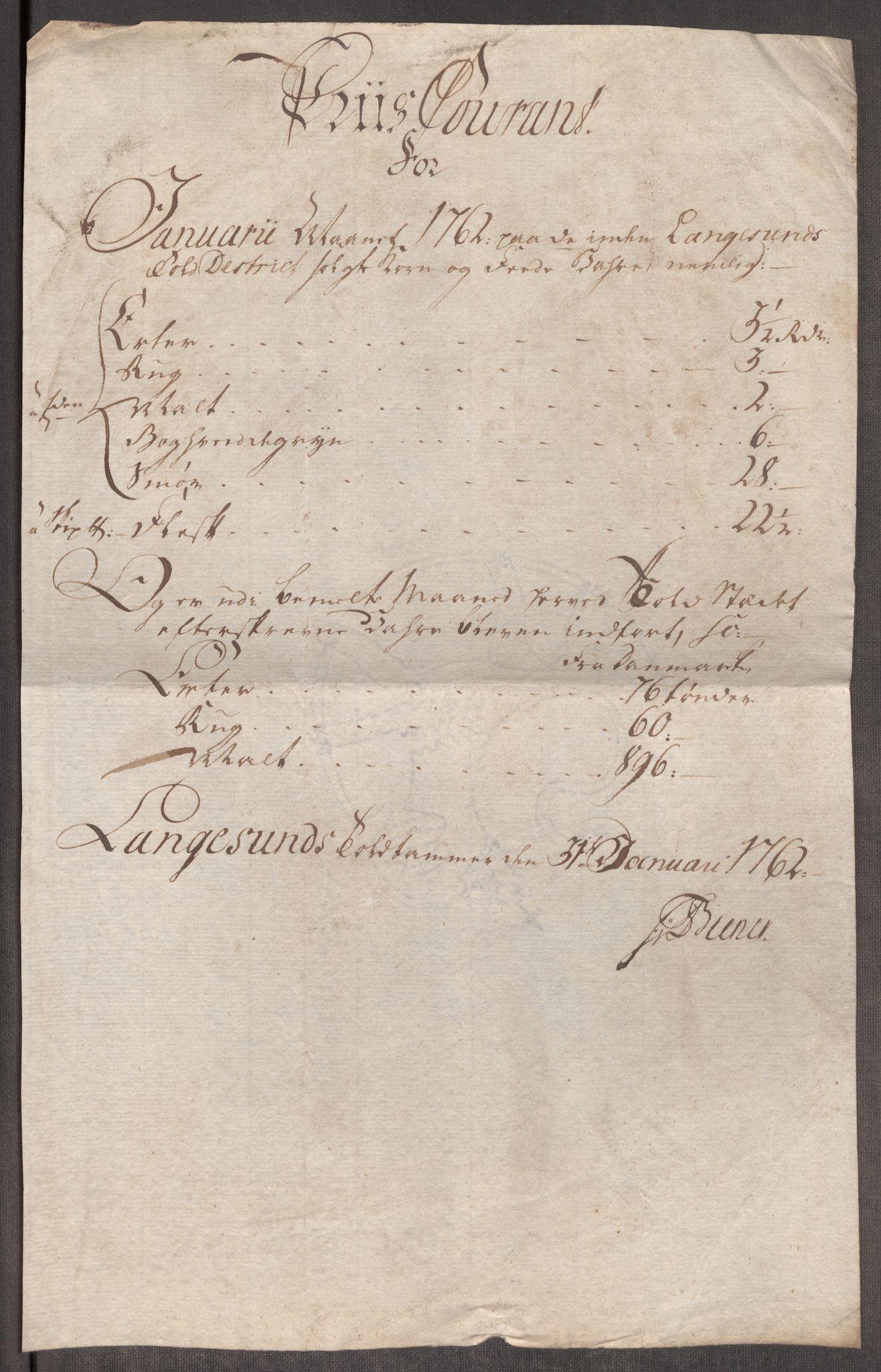 RA, Rentekammeret inntil 1814, Realistisk ordnet avdeling, Oe/L0007: [Ø1]: Priskuranter, 1761-1763, s. 440