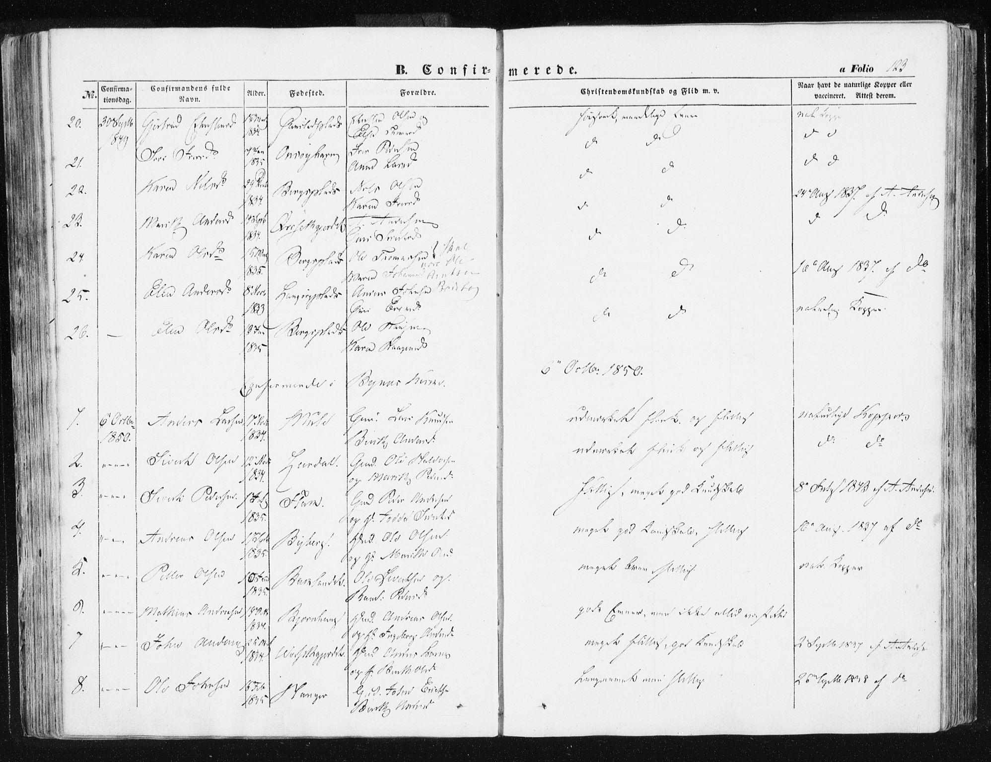 SAT, Ministerialprotokoller, klokkerbøker og fødselsregistre - Sør-Trøndelag, 612/L0376: Ministerialbok nr. 612A08, 1846-1859, s. 123