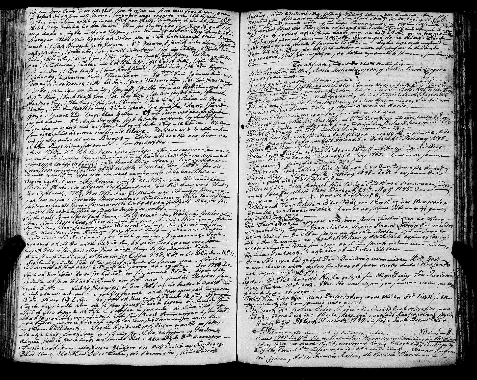 SAT, Romsdal sorenskriveri, 1/1A/L0012: Tingbok, 1740-1749, s. 135b-136a