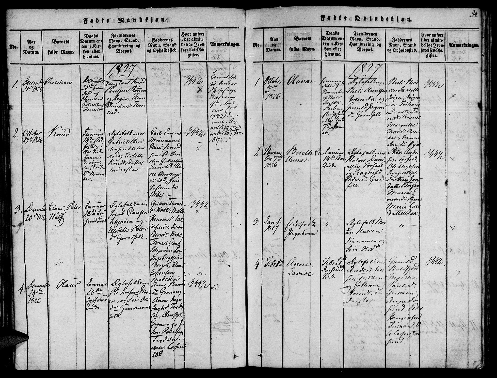 SAT, Ministerialprotokoller, klokkerbøker og fødselsregistre - Sør-Trøndelag, 655/L0675: Ministerialbok nr. 655A04, 1818-1830, s. 54