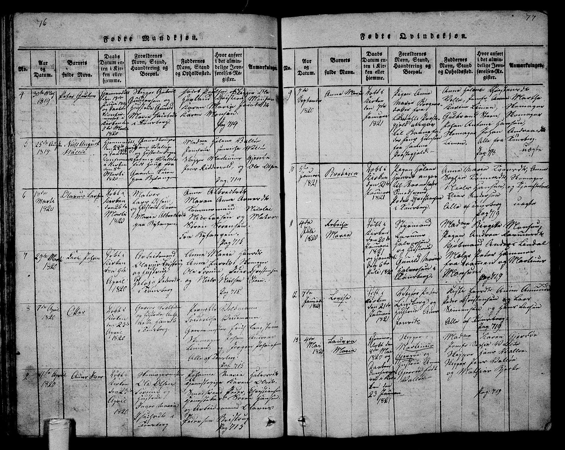 SAKO, Tønsberg kirkebøker, G/Ga/L0001: Klokkerbok nr. 1, 1813-1826, s. 76-77