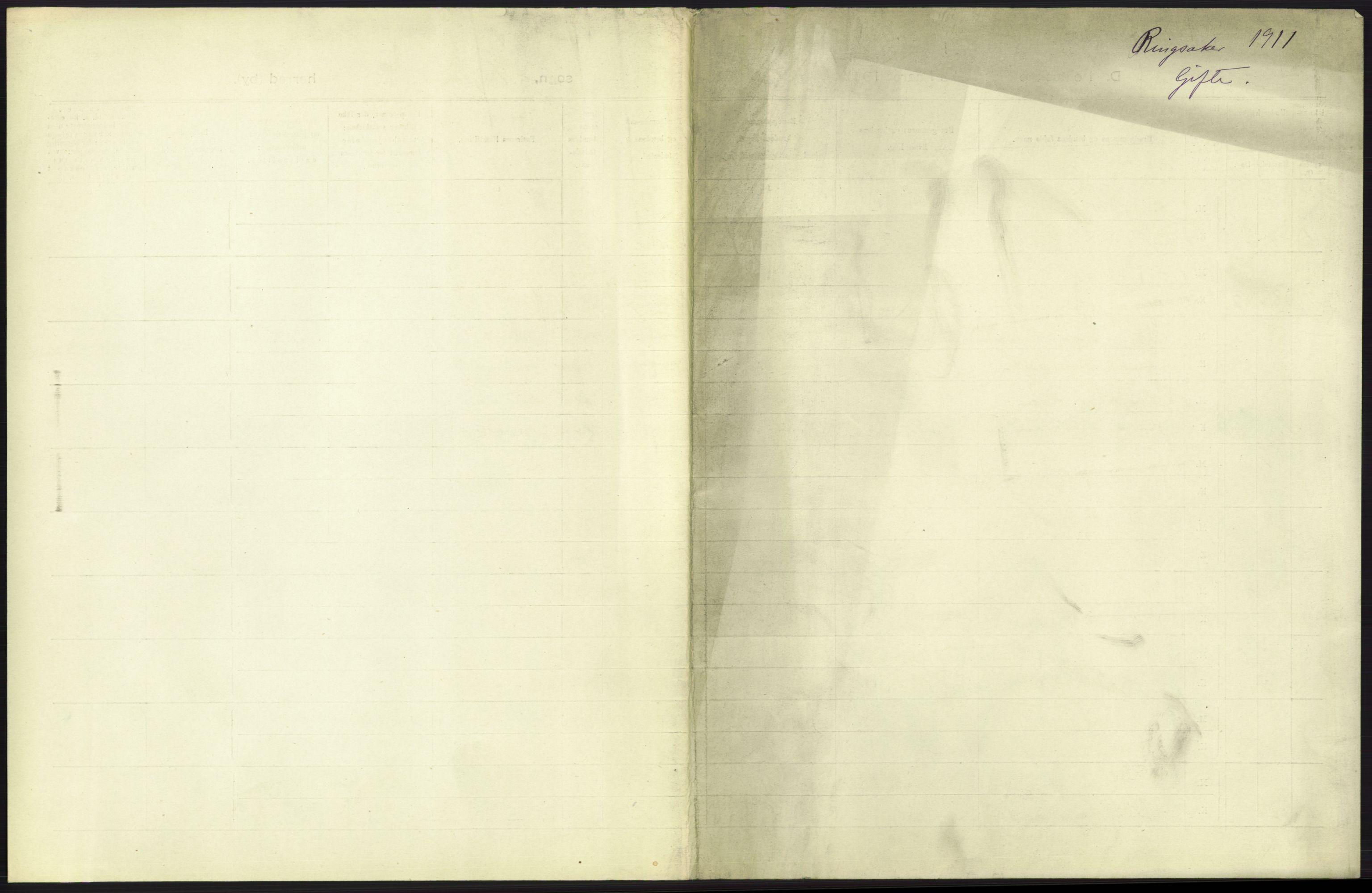 RA, Statistisk sentralbyrå, Sosiodemografiske emner, Befolkning, D/Df/Dfb/Dfba/L0012: Hedemarkens amt: Gifte, døde, dødfødte. Bygder og byer., 1911