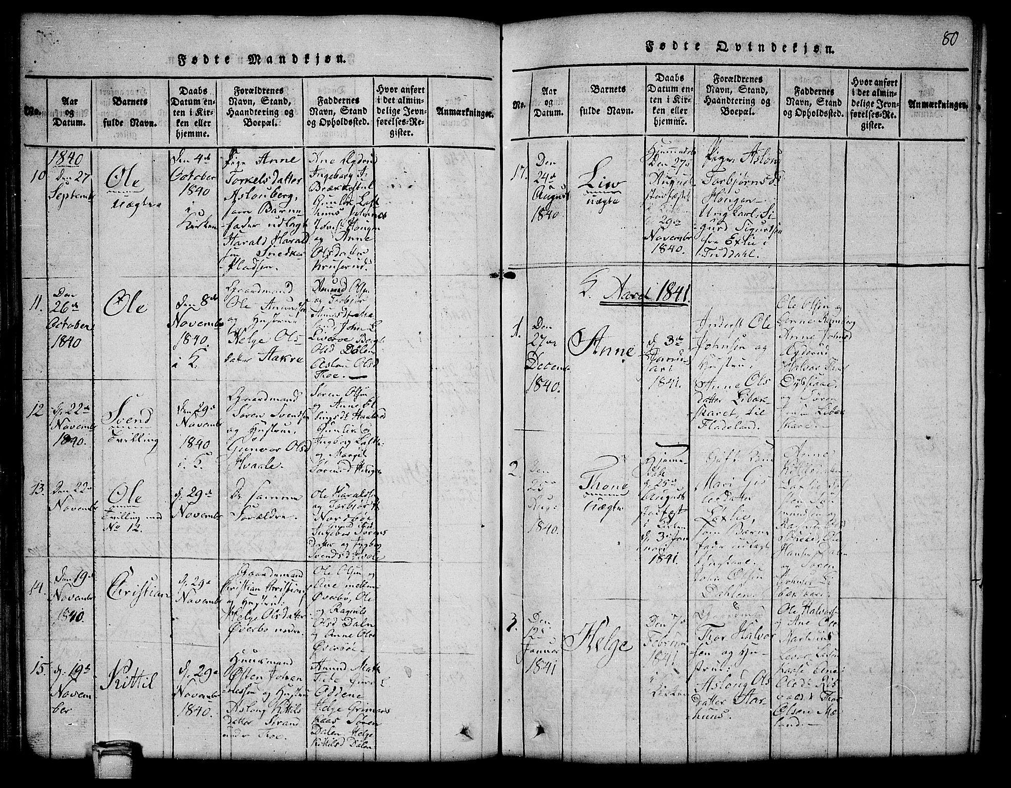 SAKO, Hjartdal kirkebøker, G/Ga/L0001: Klokkerbok nr. I 1, 1815-1842, s. 80