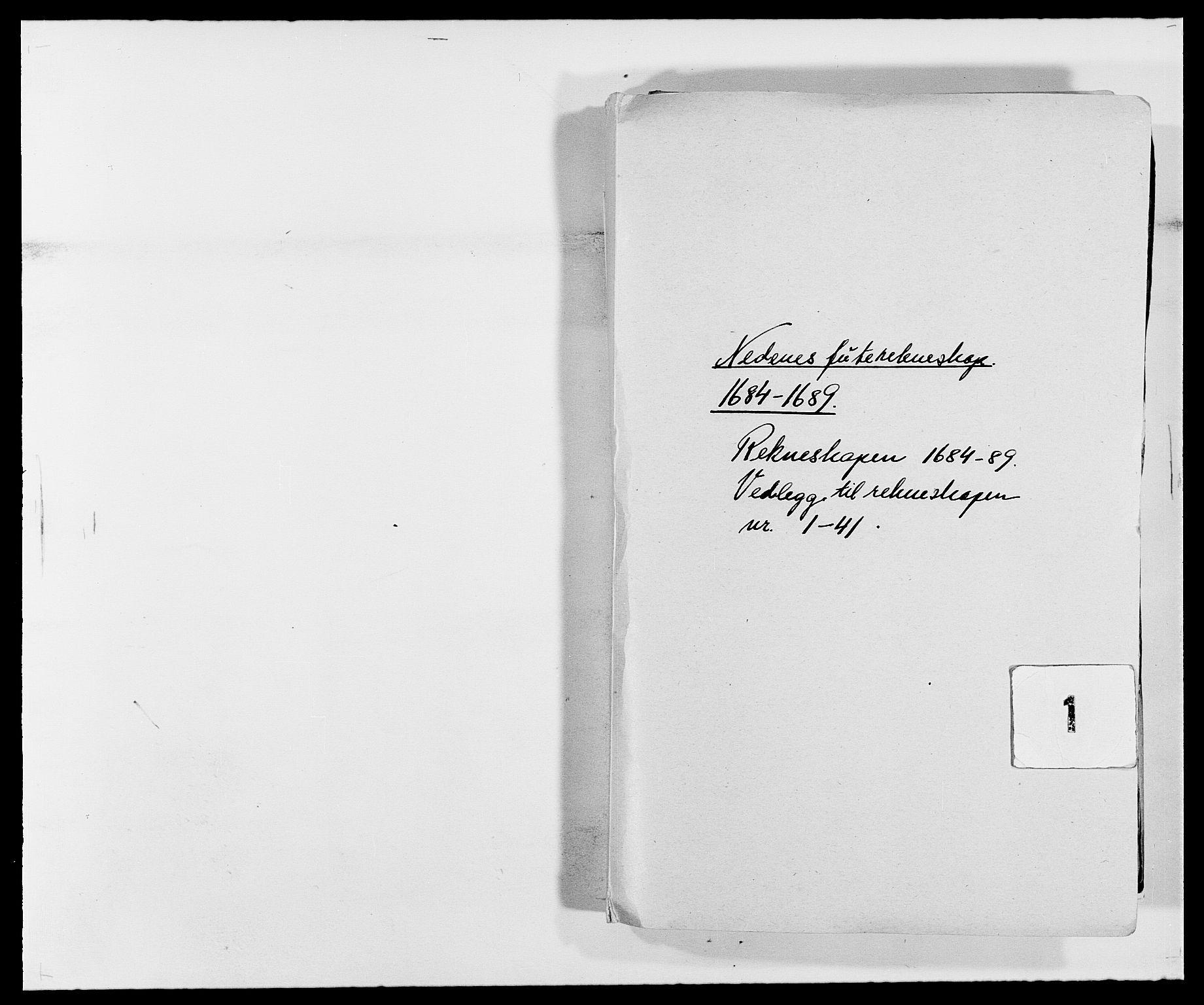 RA, Rentekammeret inntil 1814, Reviderte regnskaper, Fogderegnskap, R39/L2307: Fogderegnskap Nedenes, 1684-1689, s. 1