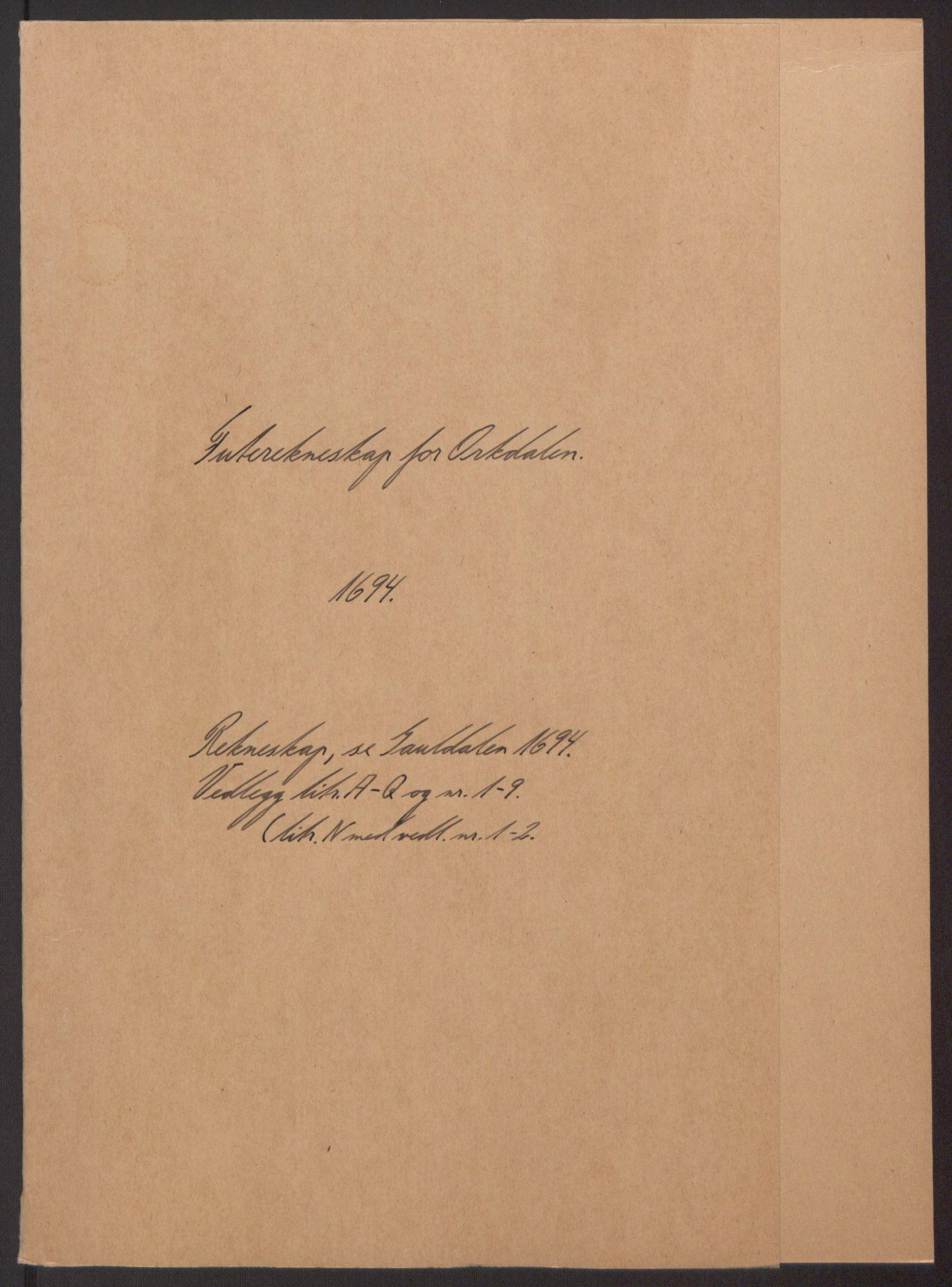 RA, Rentekammeret inntil 1814, Reviderte regnskaper, Fogderegnskap, R60/L3944: Fogderegnskap Orkdal og Gauldal, 1694, s. 2