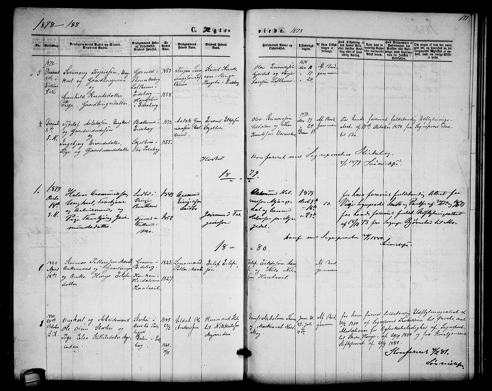 SAKO, Lårdal kirkebøker, G/Gb/L0002: Klokkerbok nr. II 2, 1865-1888, s. 171