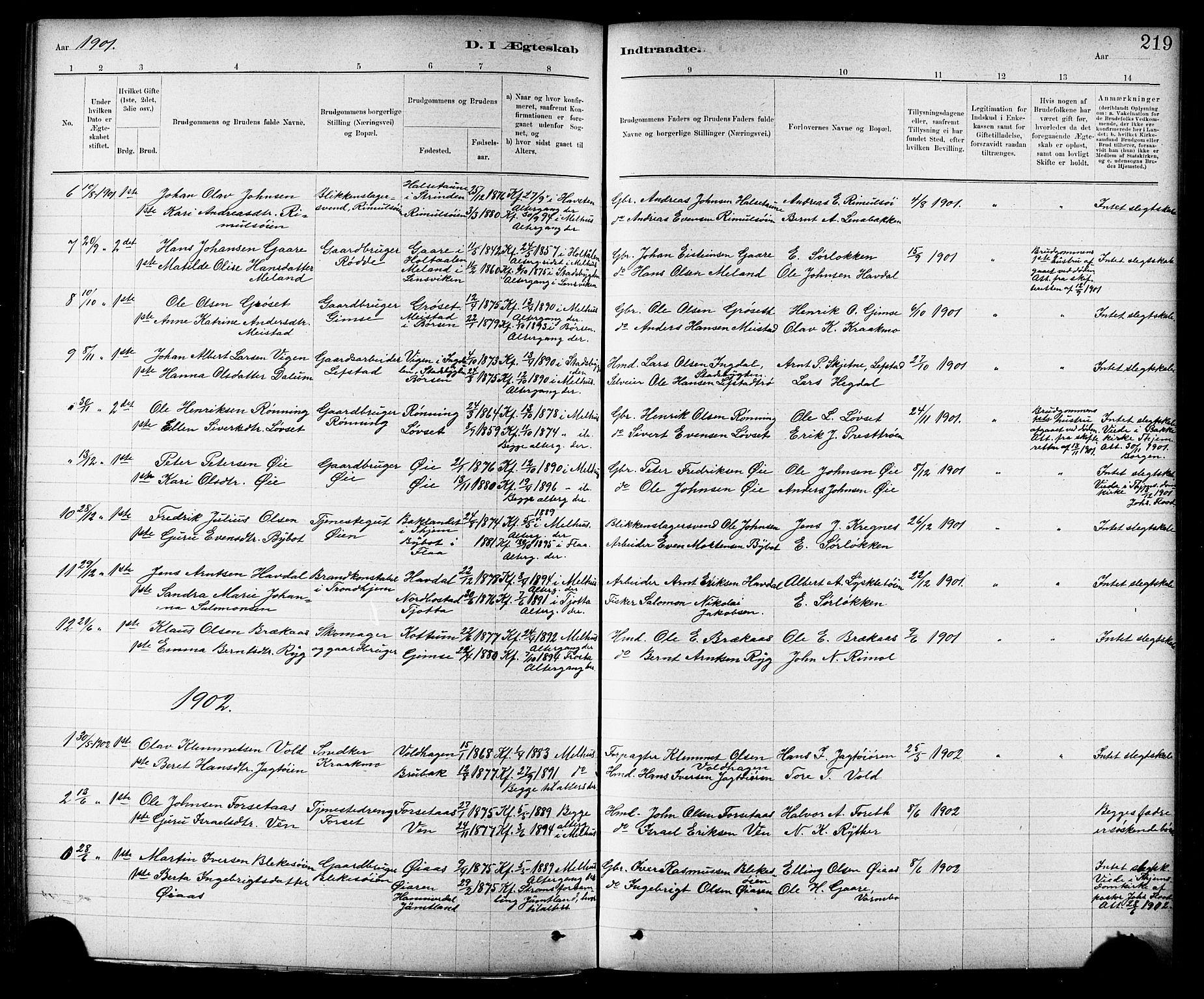 SAT, Ministerialprotokoller, klokkerbøker og fødselsregistre - Sør-Trøndelag, 691/L1094: Klokkerbok nr. 691C05, 1879-1911, s. 219