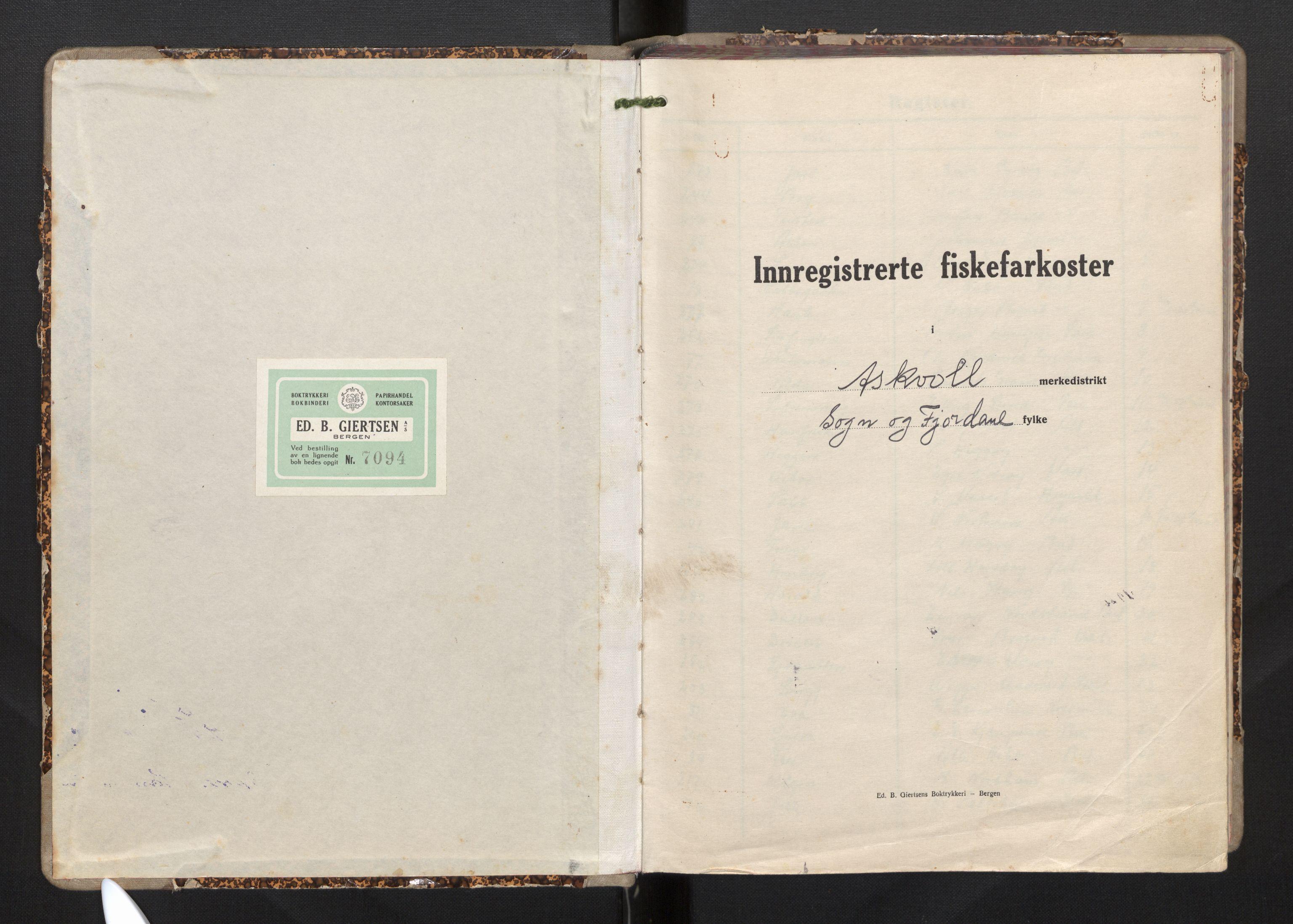 SAB, Fiskeridirektoratet - 1 Adm. ledelse - 13 Båtkontoret, I/Ia/Iag/L0003: 135.0701/3 Merkeprotokoll - Askvoll, 1945-1963